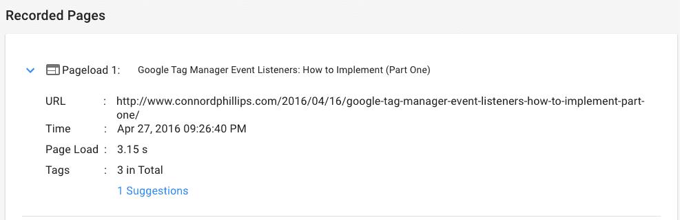 google tag assistant recorder report