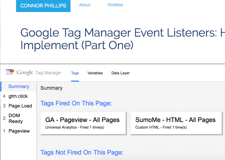 google tag manager preview debug
