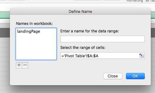 spreadsheet named range menu