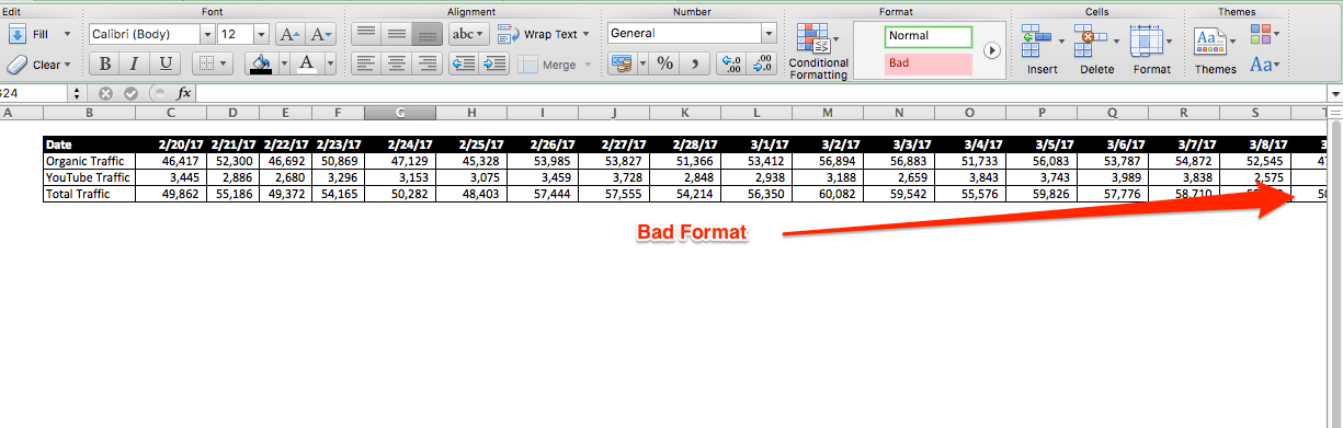 excel bad data formatting