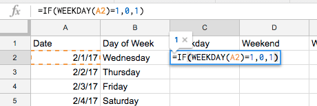 excel google sheets weekday