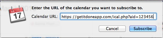 Type in the address of your Get It Done calendar