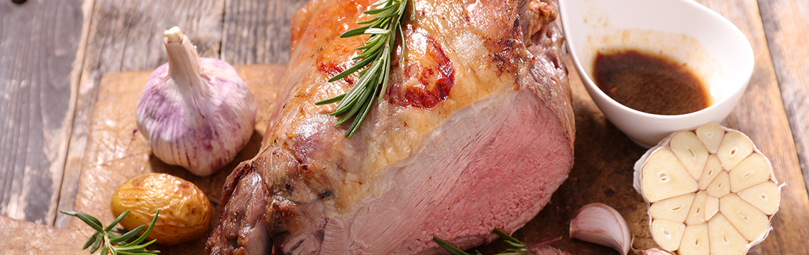 Barbequed leg of lamb image