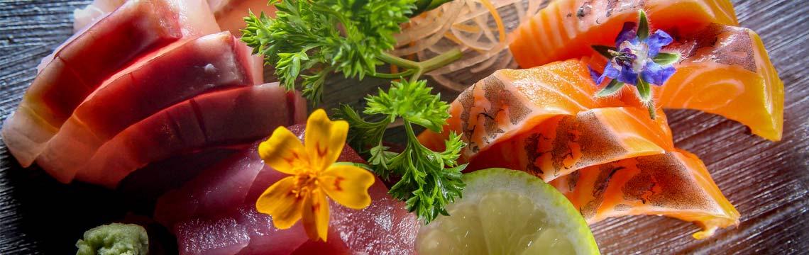 Freshly cut sashimi, light Japanese salad with citrus image