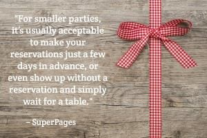 For smaller parties, it's usually acceptable to make your reservations just a few days in advance, or even show up without a reservation and simply wait for a table. - SuperPages