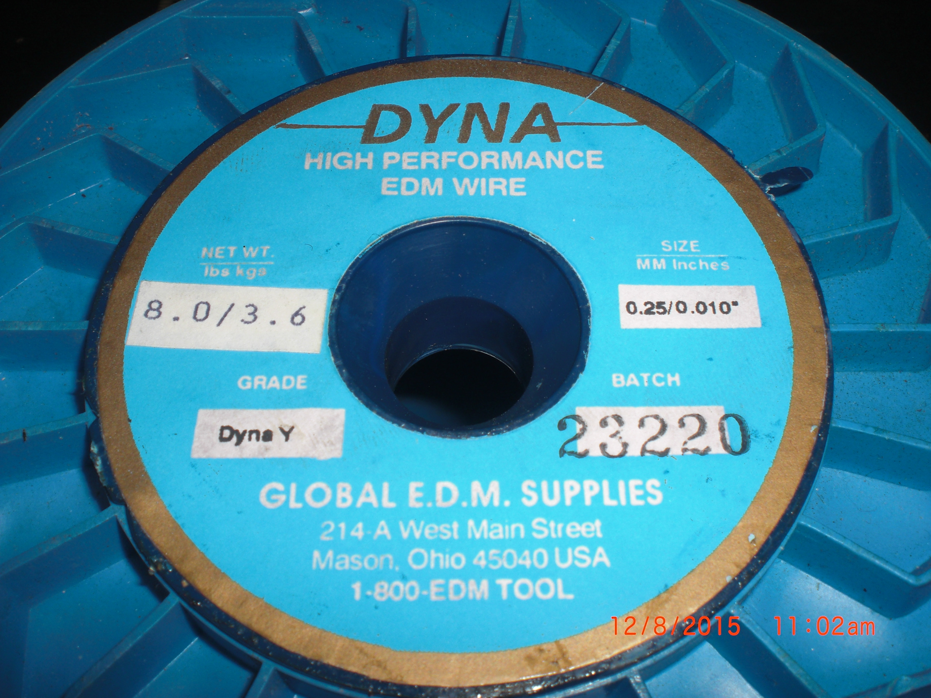 Hardware Y EDM Wire Dyna High Perfomance 8LB GLOBAL E.D.M. SUPPLIES 0.25/0.010