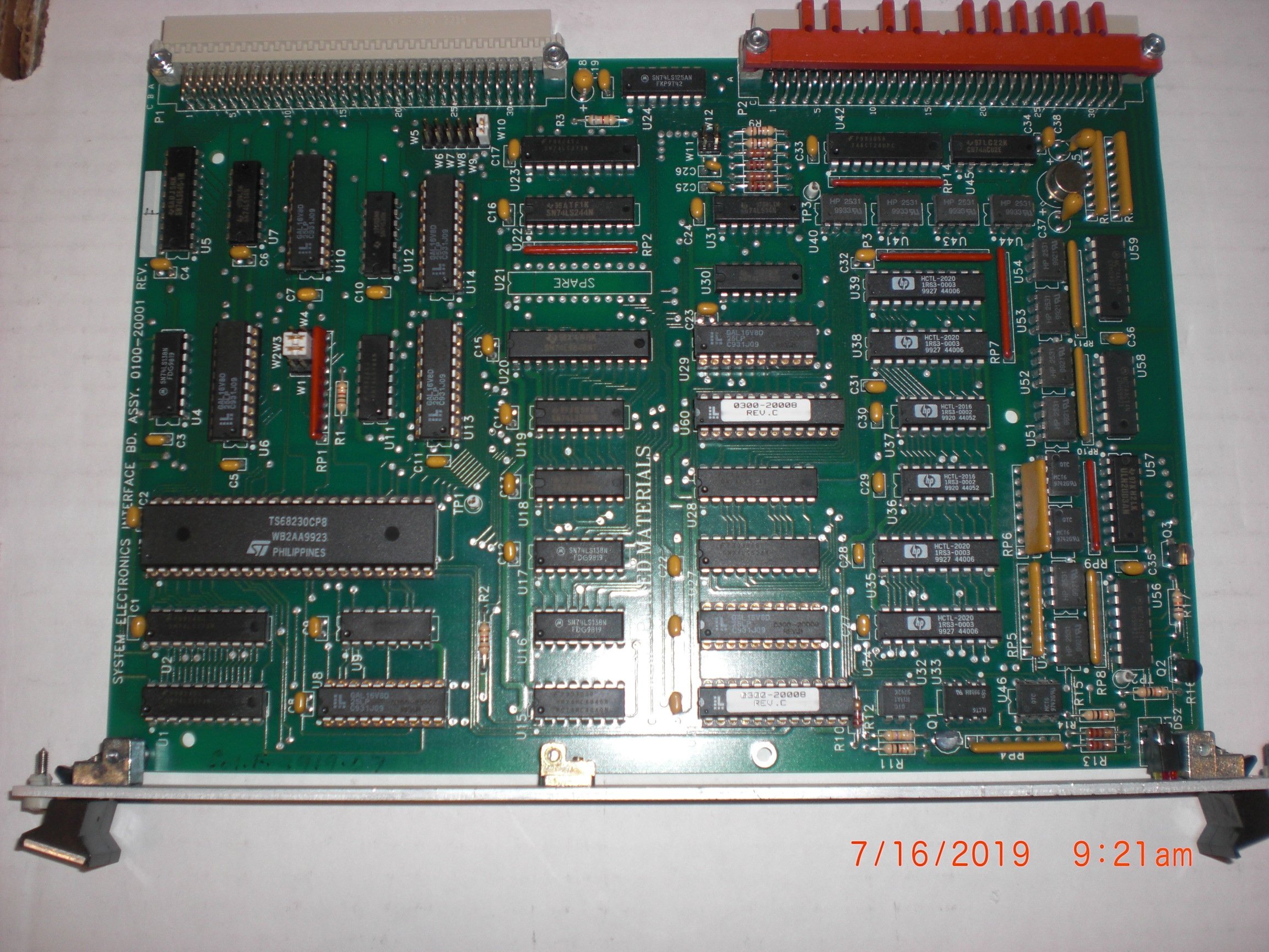PCB Applied Materials (AMAT) 0100-20001 ASSY,SYSTEM ELECTRONICS INTERFACE BOARD