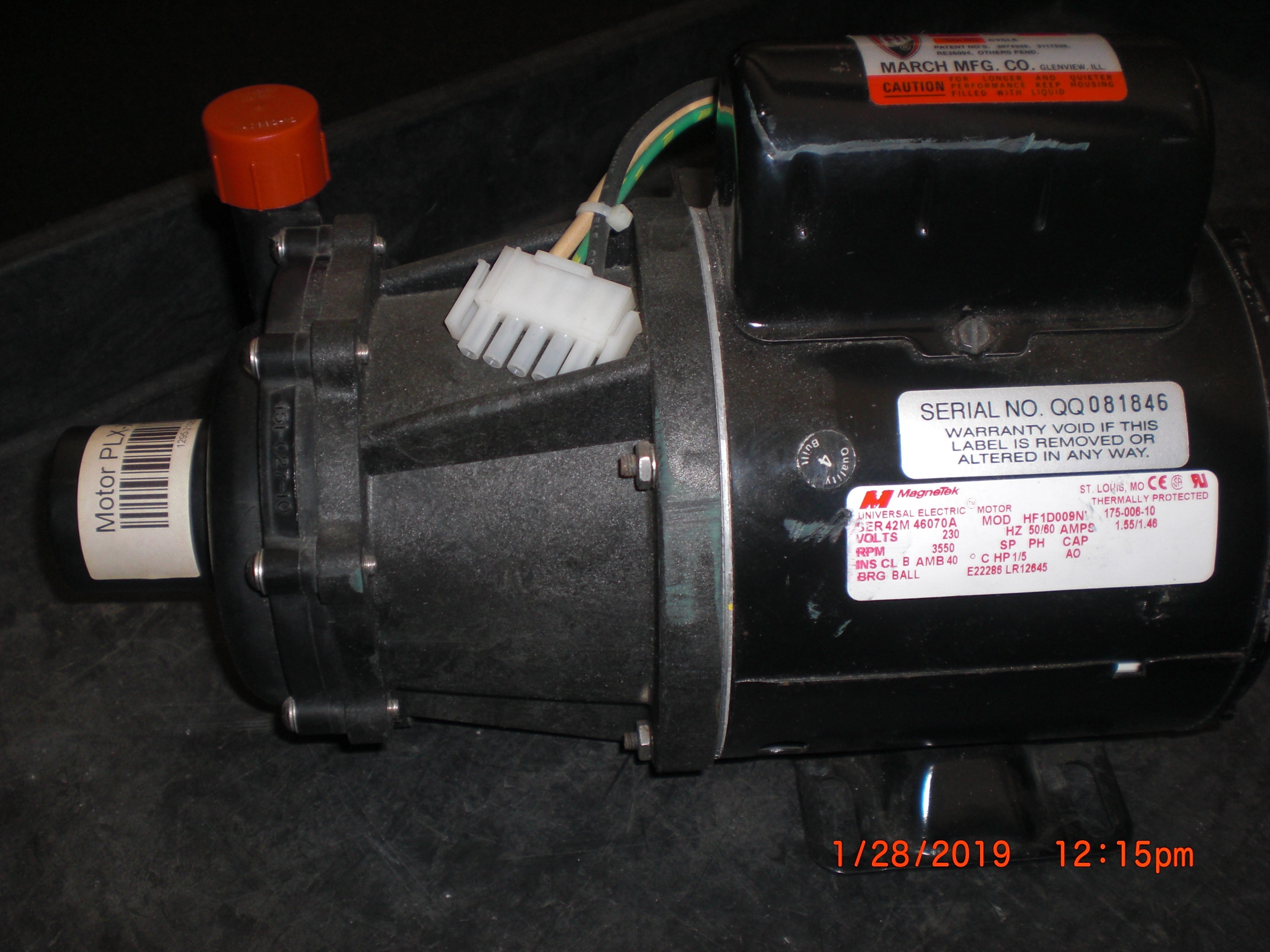 Pump MARCH 0151-0027-0630 TE-5.5C-MD 30GPM 230VAC  in 1in FPT out 3/4MPT
