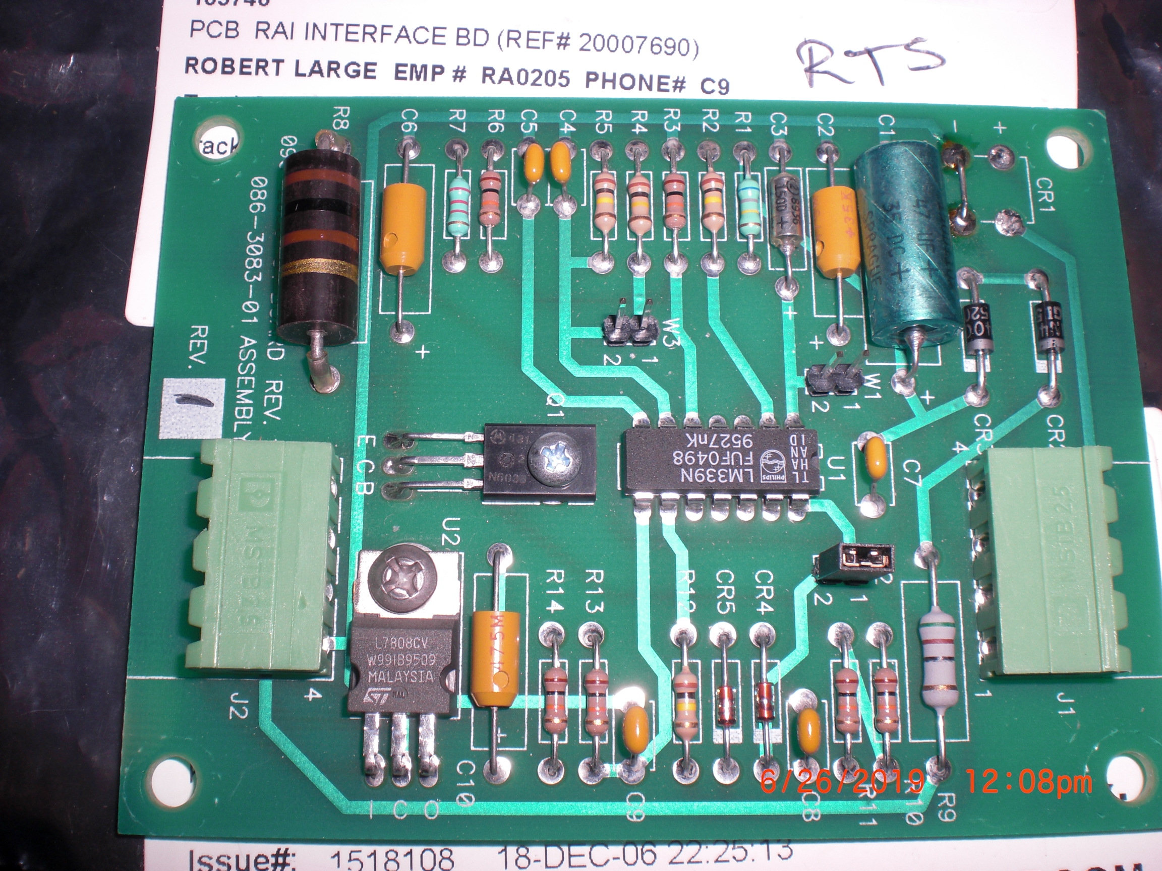 PCB TRANSLOGIC 086-3083-01 RAI Interface BD