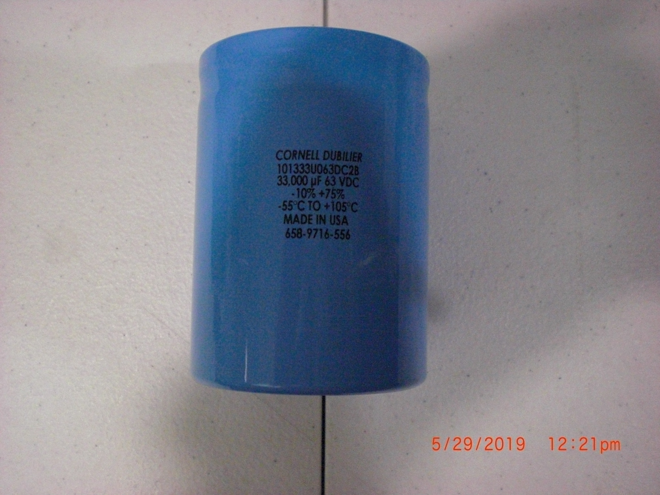 Electrical CORNELL-DUBILIER 101333U63DC2B Capacitor- 33000uF 63V -10% + 75% tol