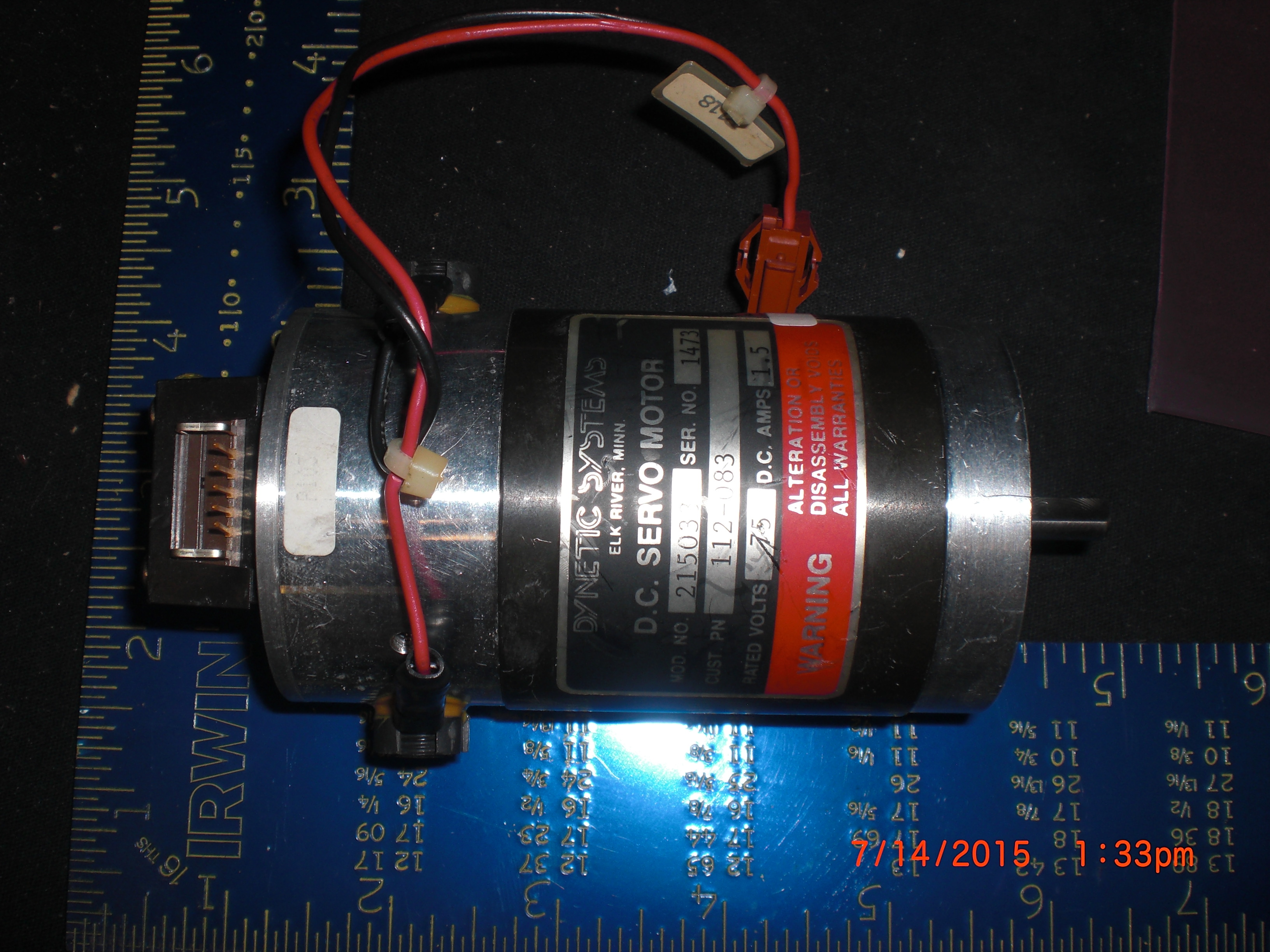 Motor  DC servo 75V 1.5A DYNETIC SYSTEMS 112-083 model 215033 encoder E2-512-250
