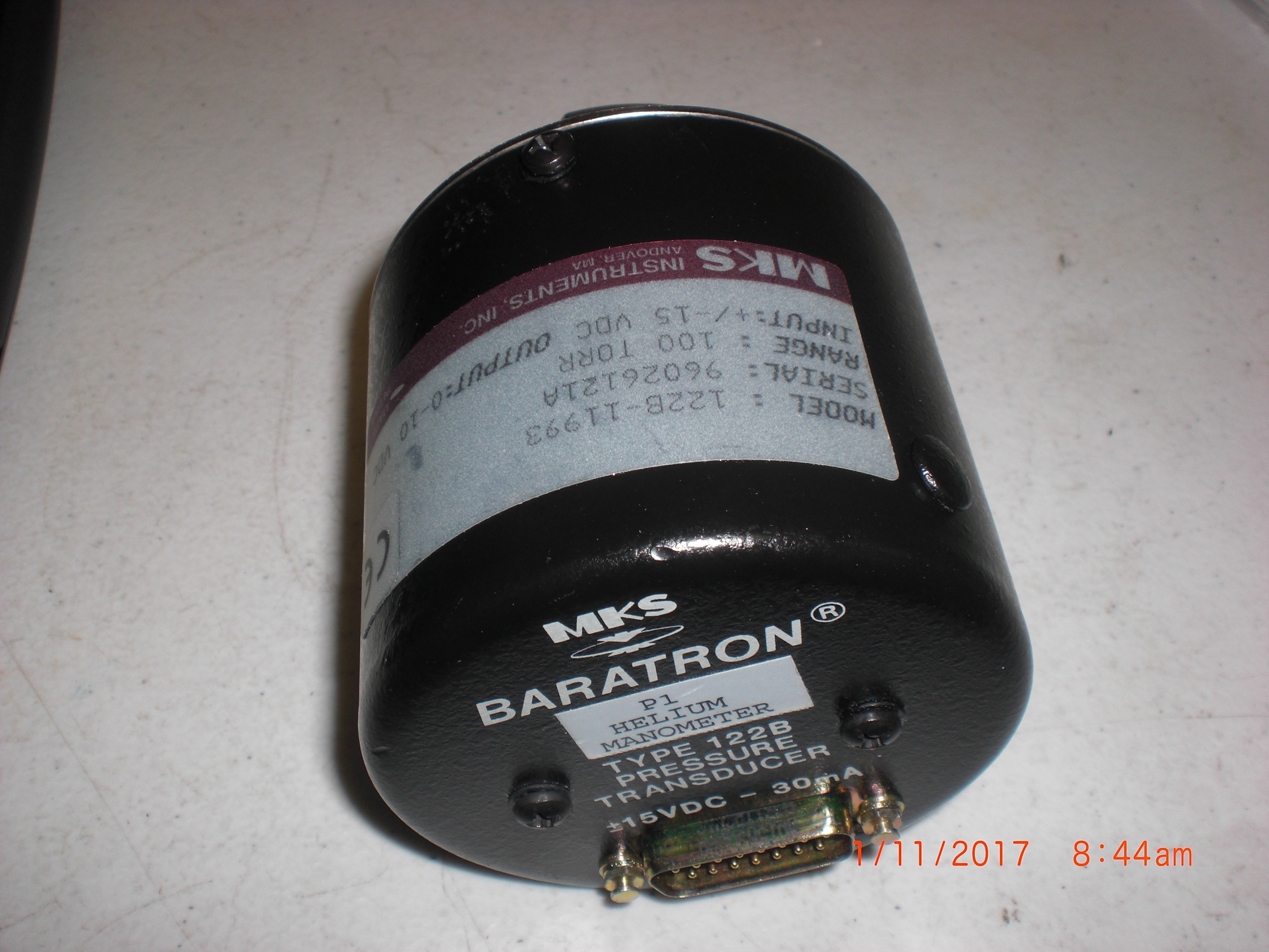 Baratron MKS 122B-11933 Pressure Transducer 100 torr untested