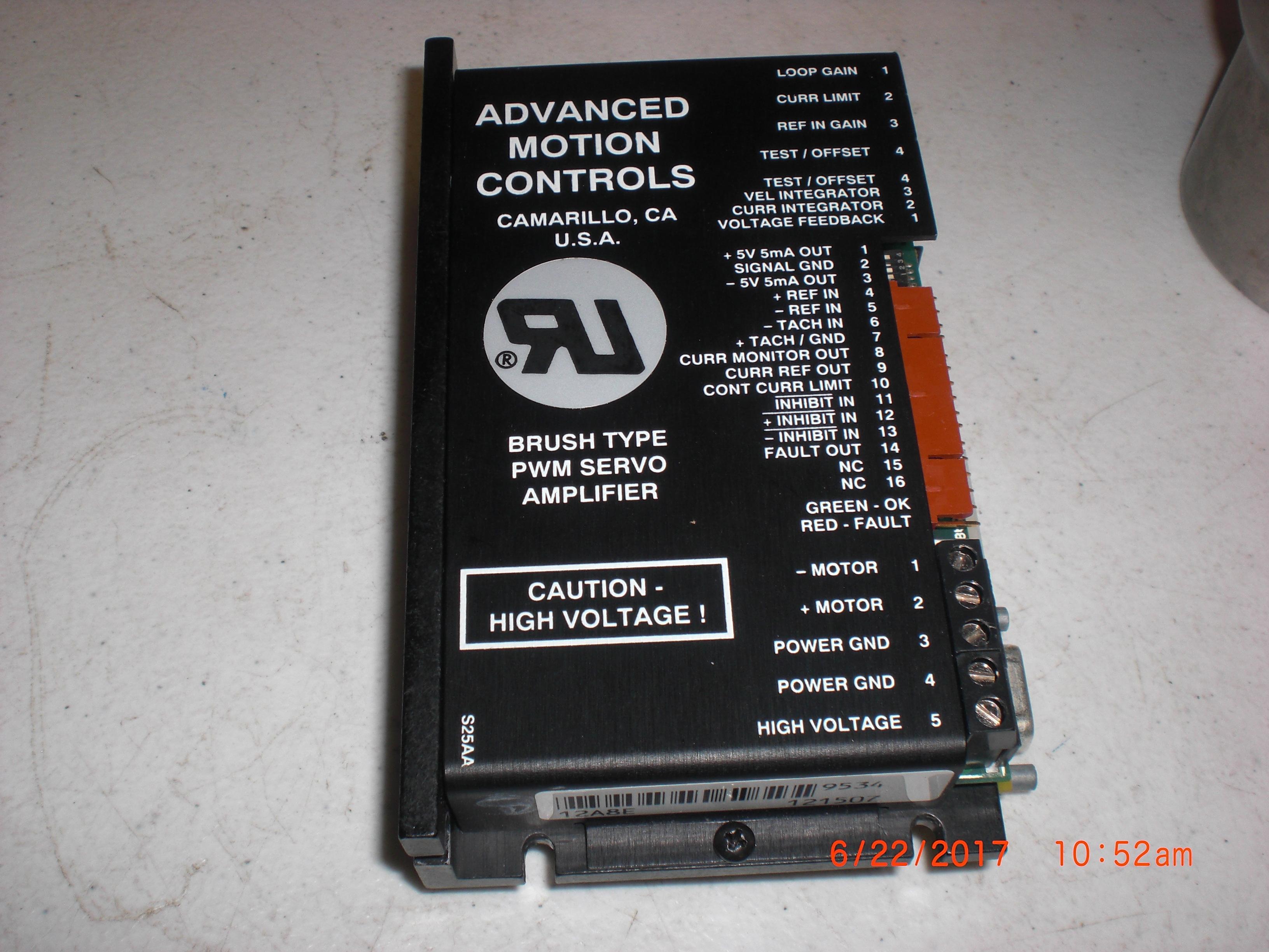 Amplifier Servo Drive , Type: PWM ADVANCE MOTION CONTROLS 12A8E w/E426749 PCB