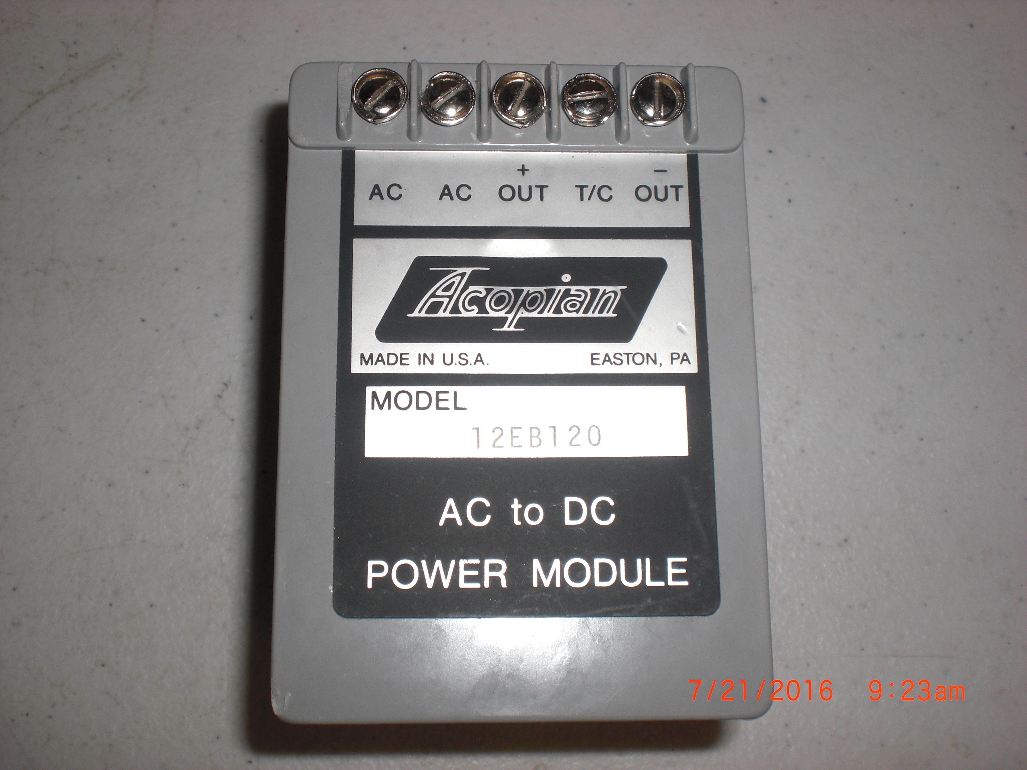 Power Supply  ACOPIAN 12EB120  12V 1.2A Single Output Linear Regulated AC to DC Power Module