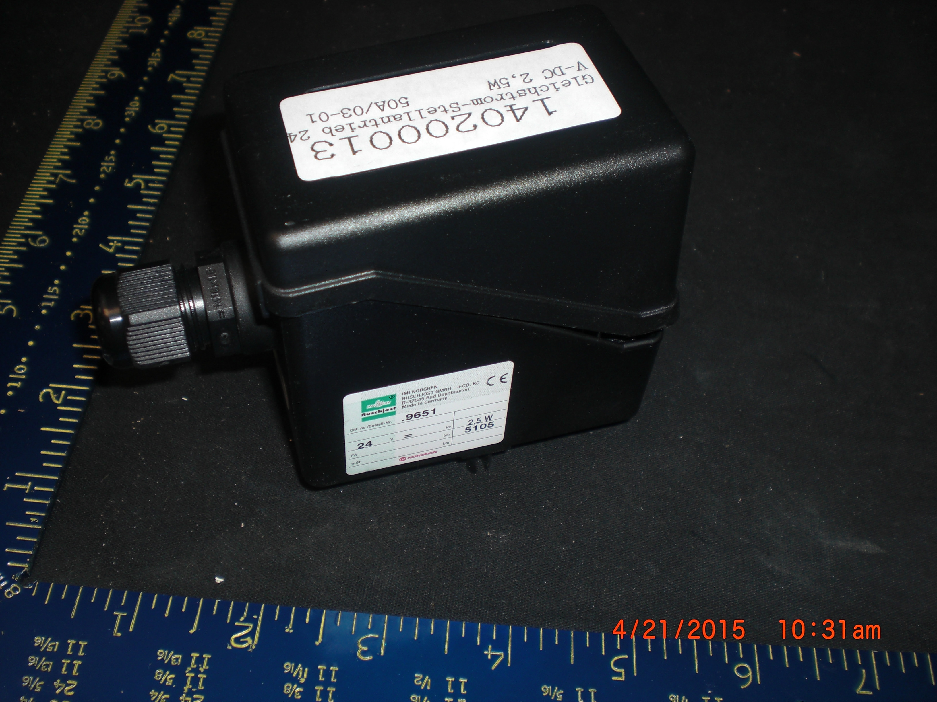 Actuator Valve  Rotary 24 VDC 2,5W, 50A/03-01 BUSCHJOST 9651