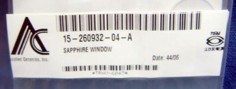 Lens Sapphire Window 8.0-2in DIA, Novellus 15-260932-04