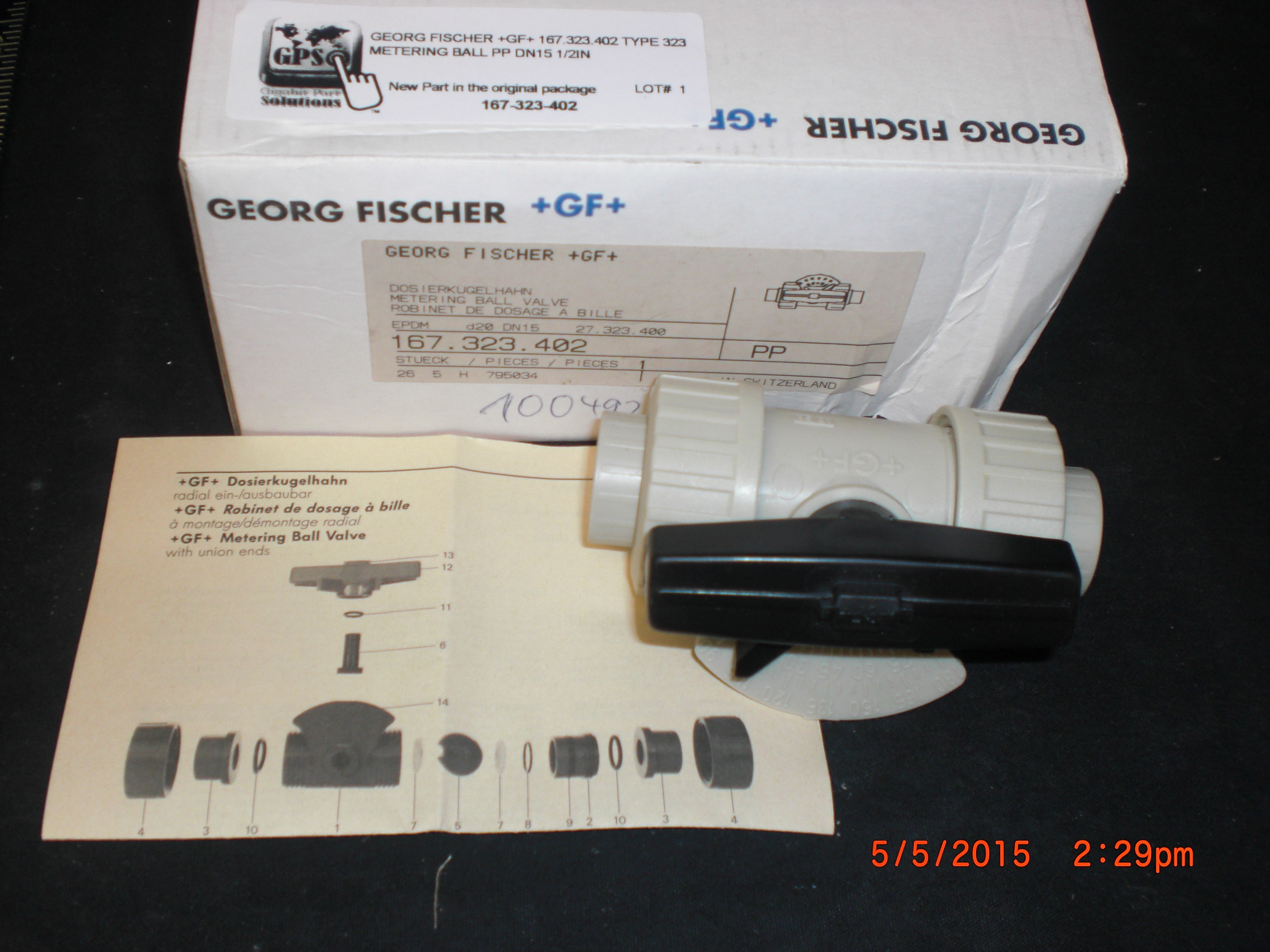 Valve Metering ball PP DN15 1/2in GEORG FISCHER +GF+ 167.323.402 Type 323