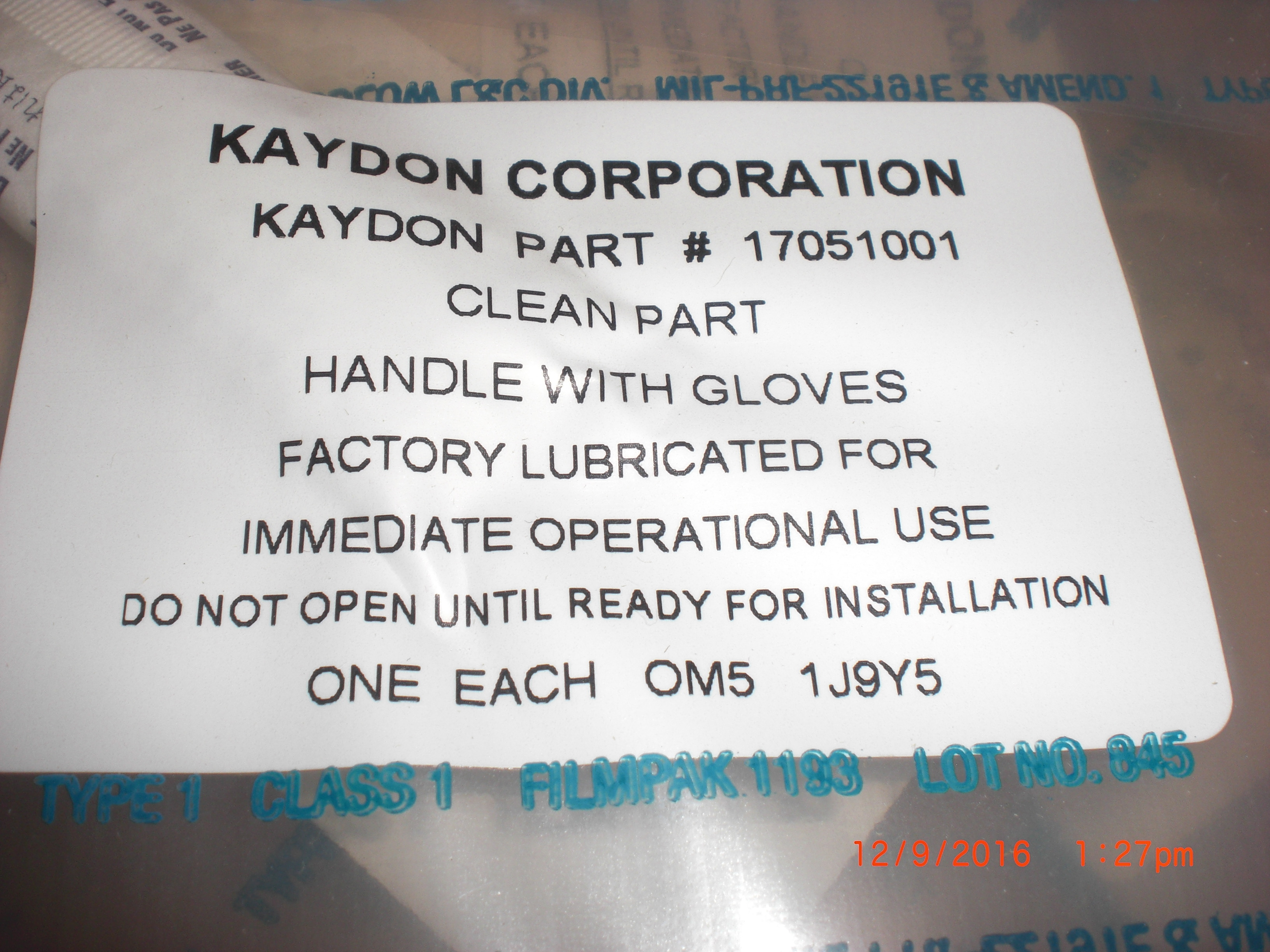 Bearing Ceramic AMAT VHP Robot Hub Motion Industries KAYDON 1705100