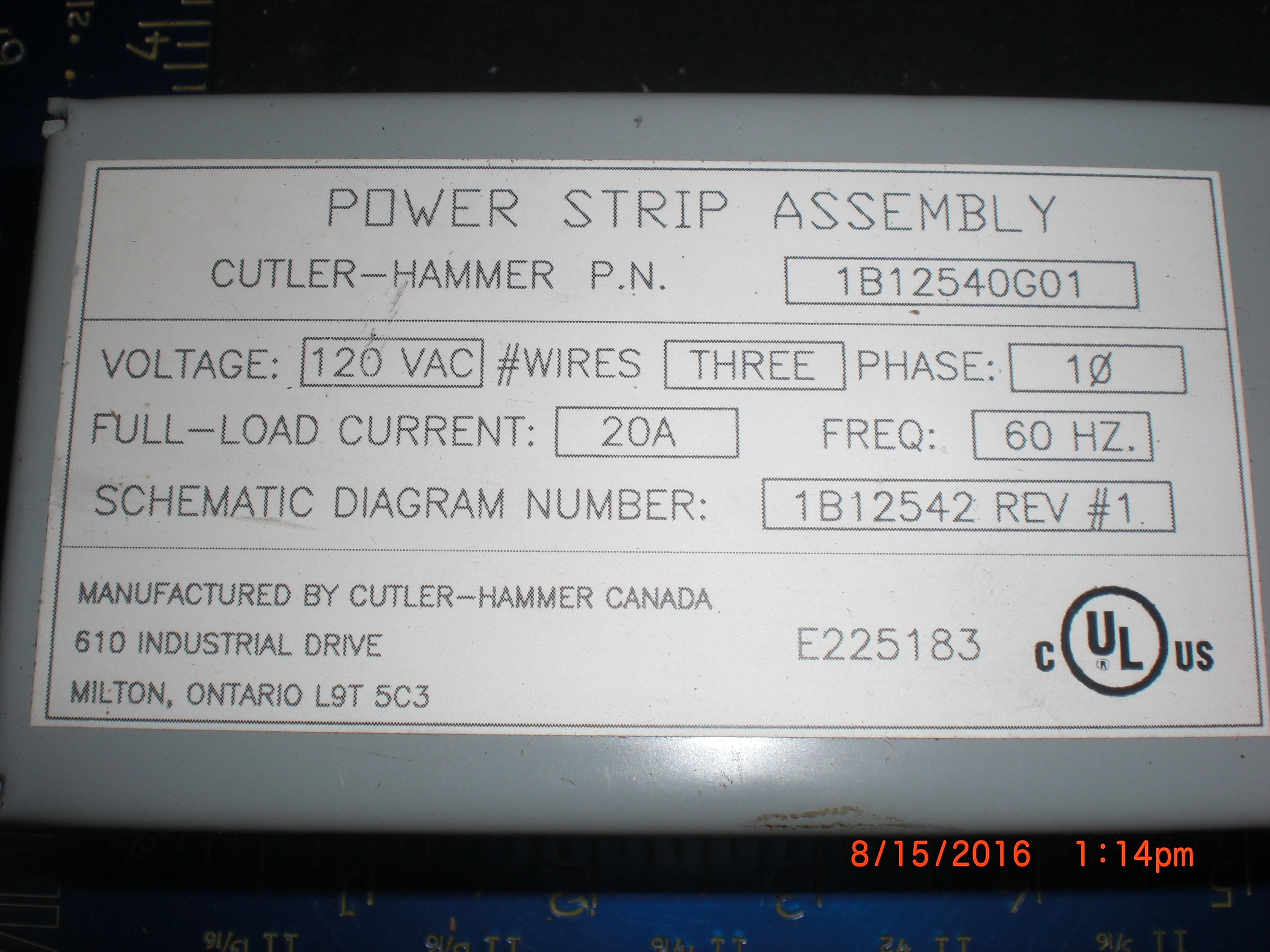 Electrical Power Strip 20a 120vac 6 Position Cutler Hammer Schematics Image Is Loading