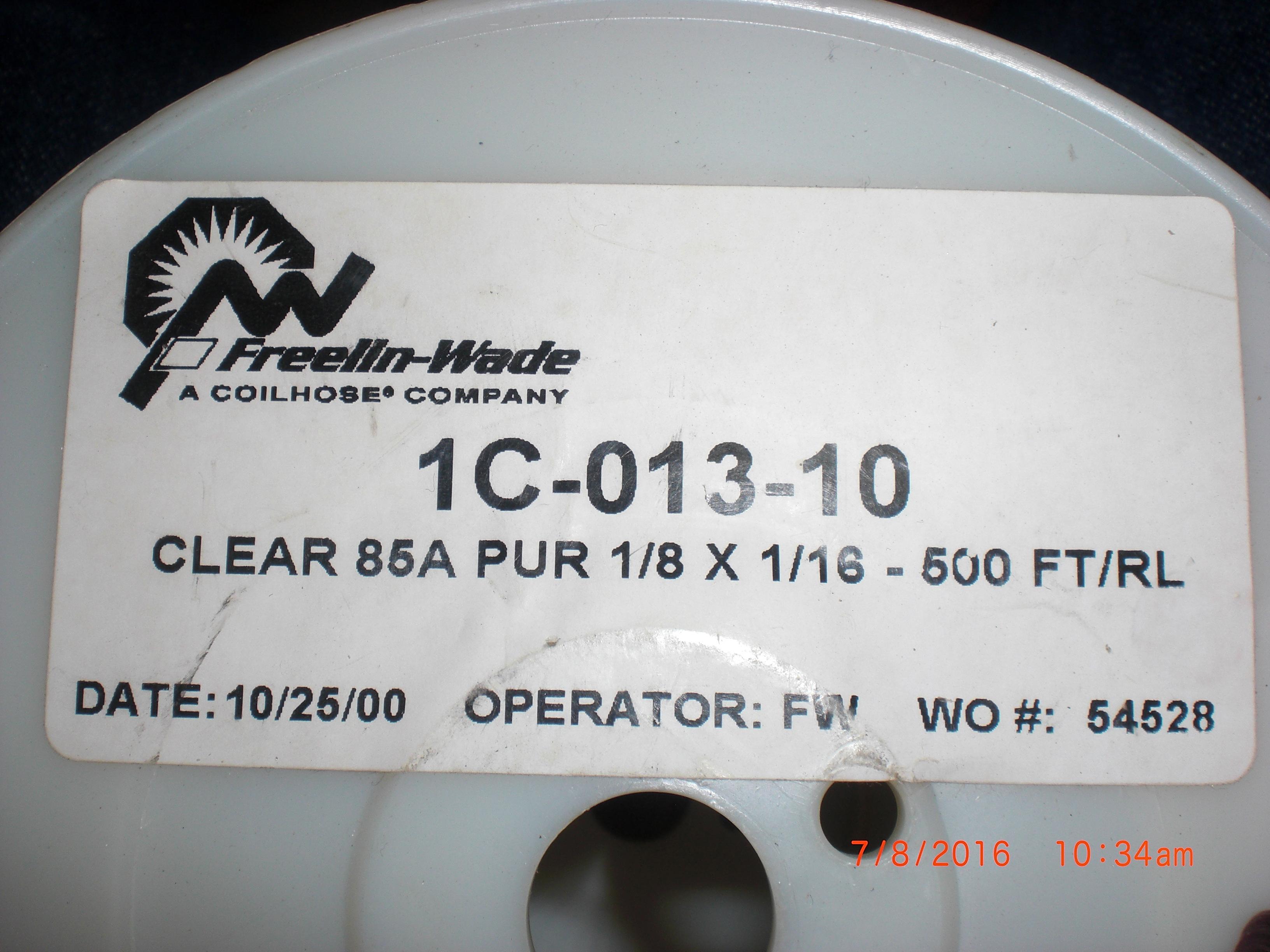 Tubing FREELIN-WADE 1C-013-10 Tube 400ft Clear Polyurethane  85A PUR 1/8 x 1/16
