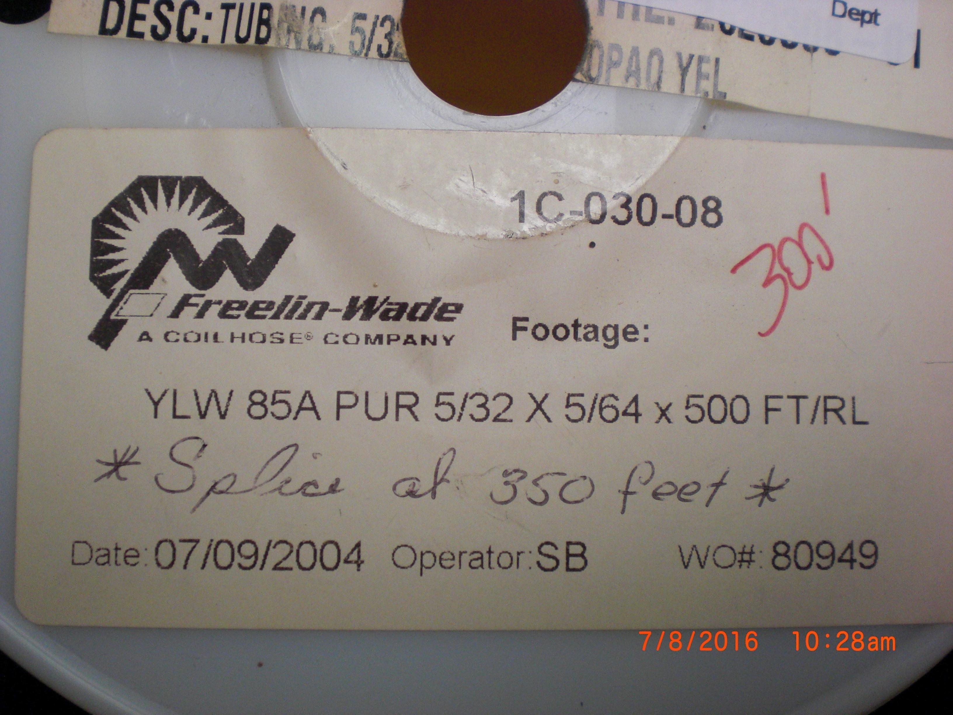 Tubing 300ft Yellow Polyurethane  85A PUR 5/32 x 5/64 FREELIN-WADE 1C-030-08