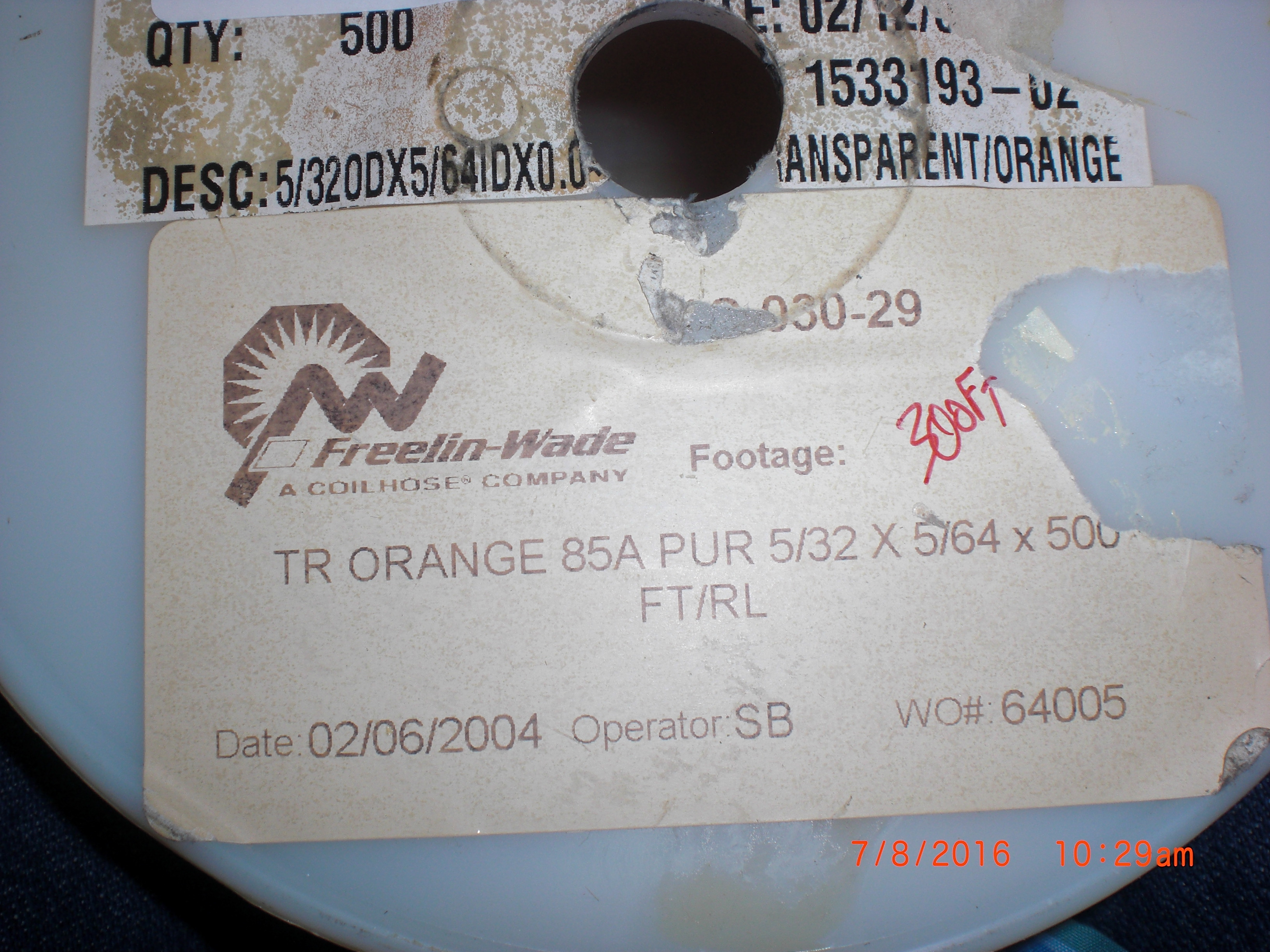Tubing 300ft TR Orange Polyurethane  85A PUR 5/32 x 5/64 FREELIN-WADE 1C-030-29