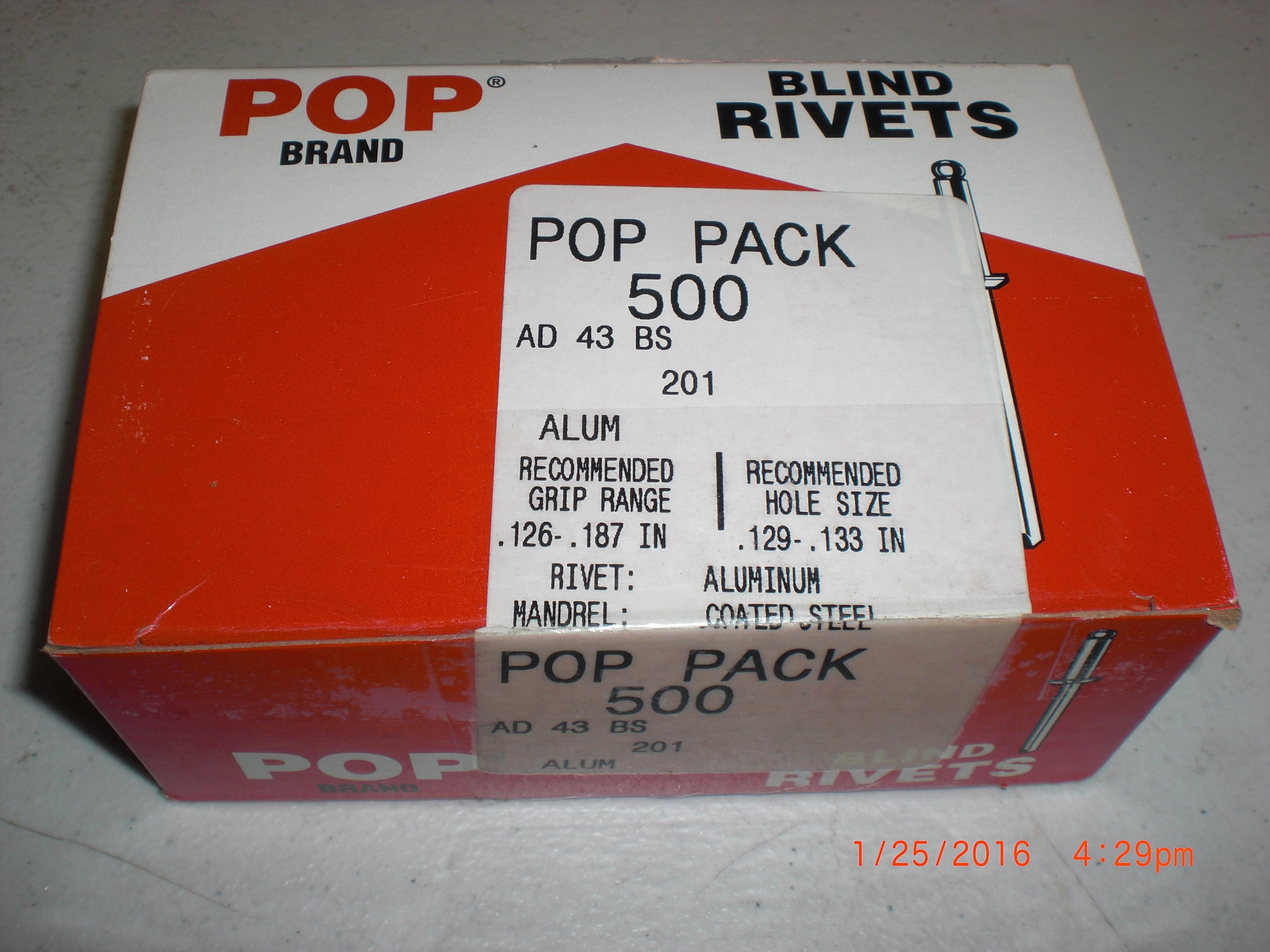 Hardware AL Blind Rivet Box 500 POP 201