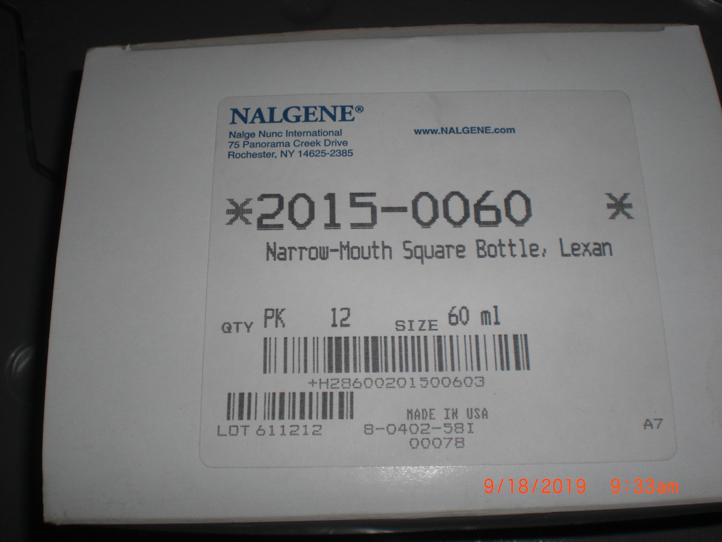 Hardware NALGENE 2015-0060 box of 12 60ml bottle narrow mouth