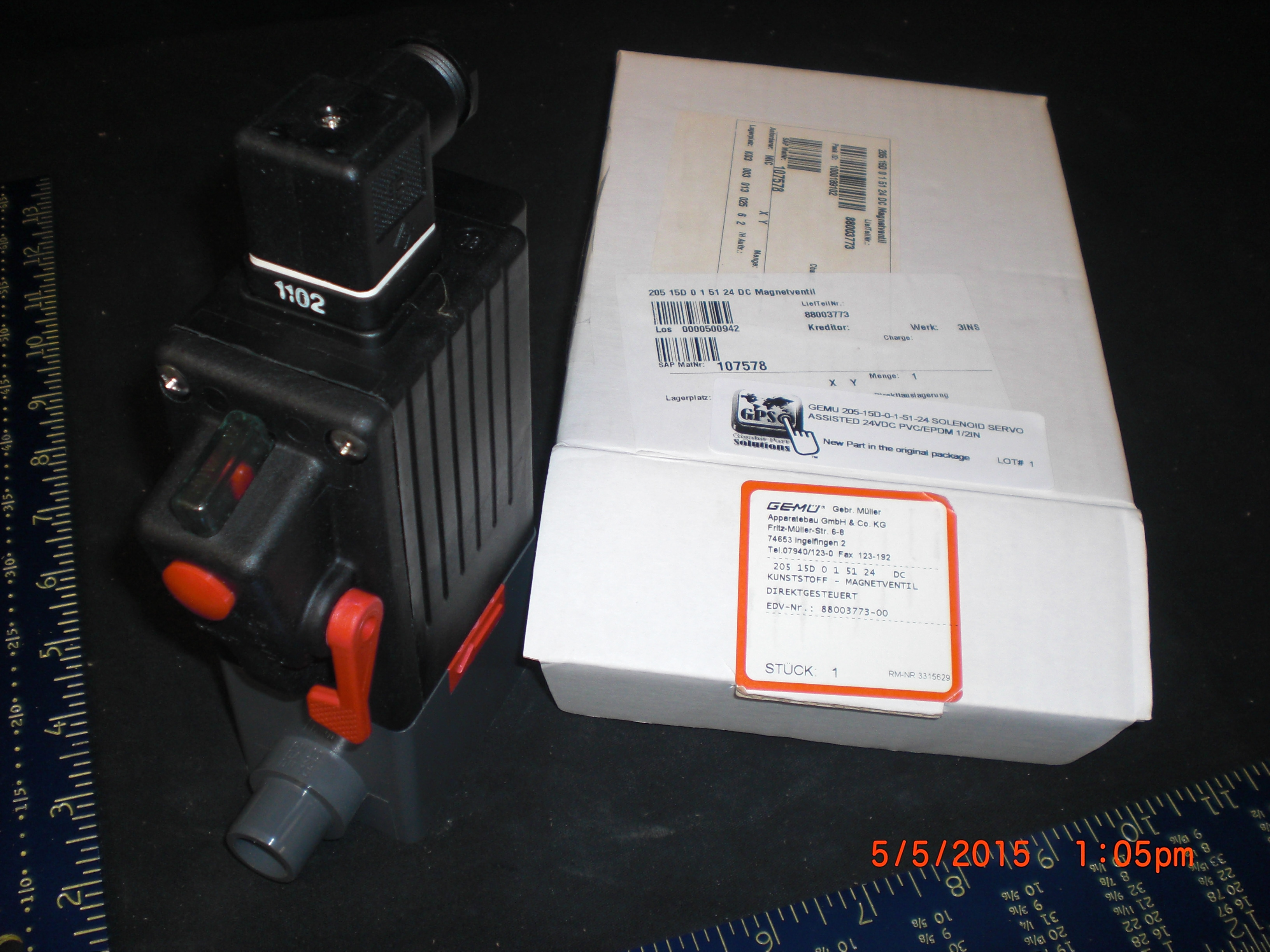 Valve GEMU 205-15D-0-1-51-24 Solenoid Servo Assisted 24VDC PVC/PTFE 1/2in