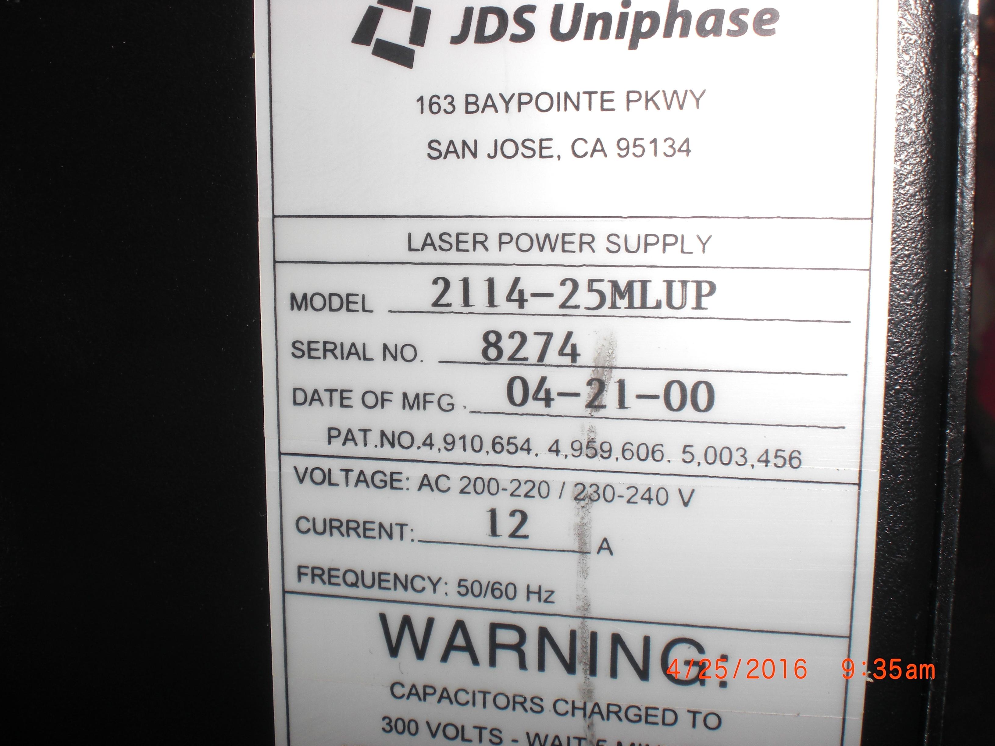 Power Supply  JDS UNIPHASE 2114-25MLUP Laser CRS1010 KLA-TENCOR