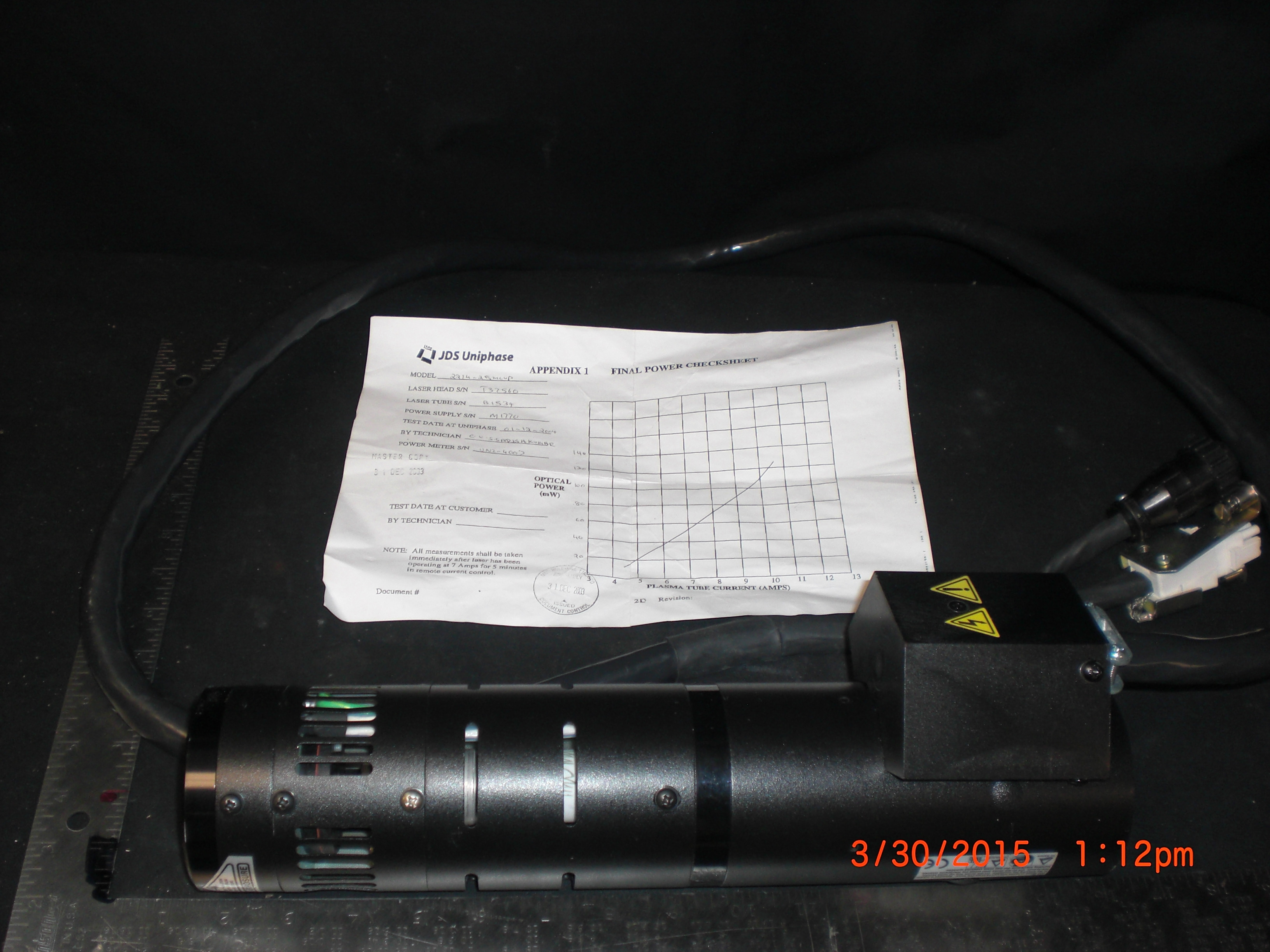 Laser  JDS UNIPHASE 2214-25MLUP  Argon with test docs