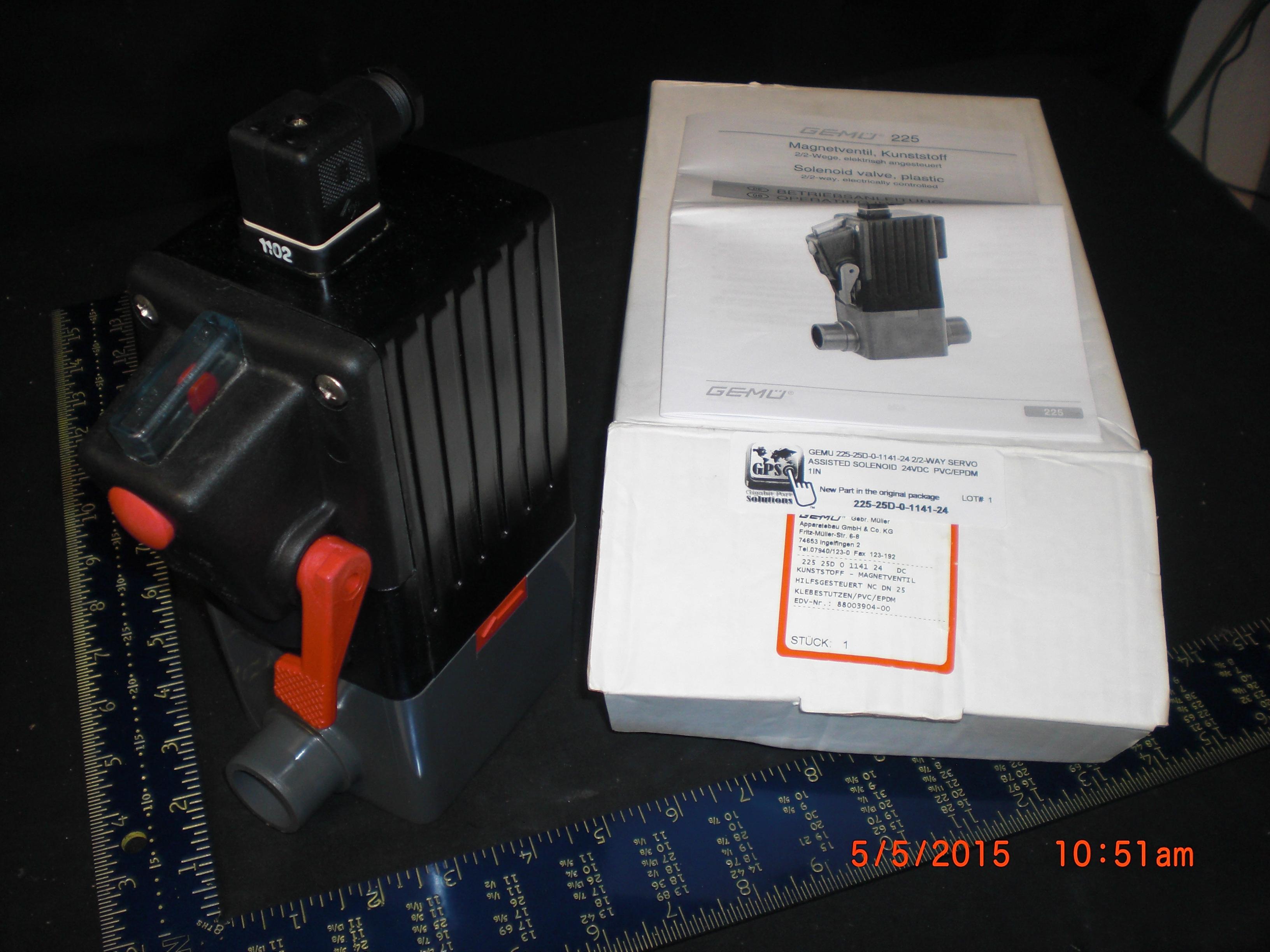 Valve Servo Solenoid 24VDC  PVC/EPDM  1in  2/2-way GEMU 225-25D-0-1141-24