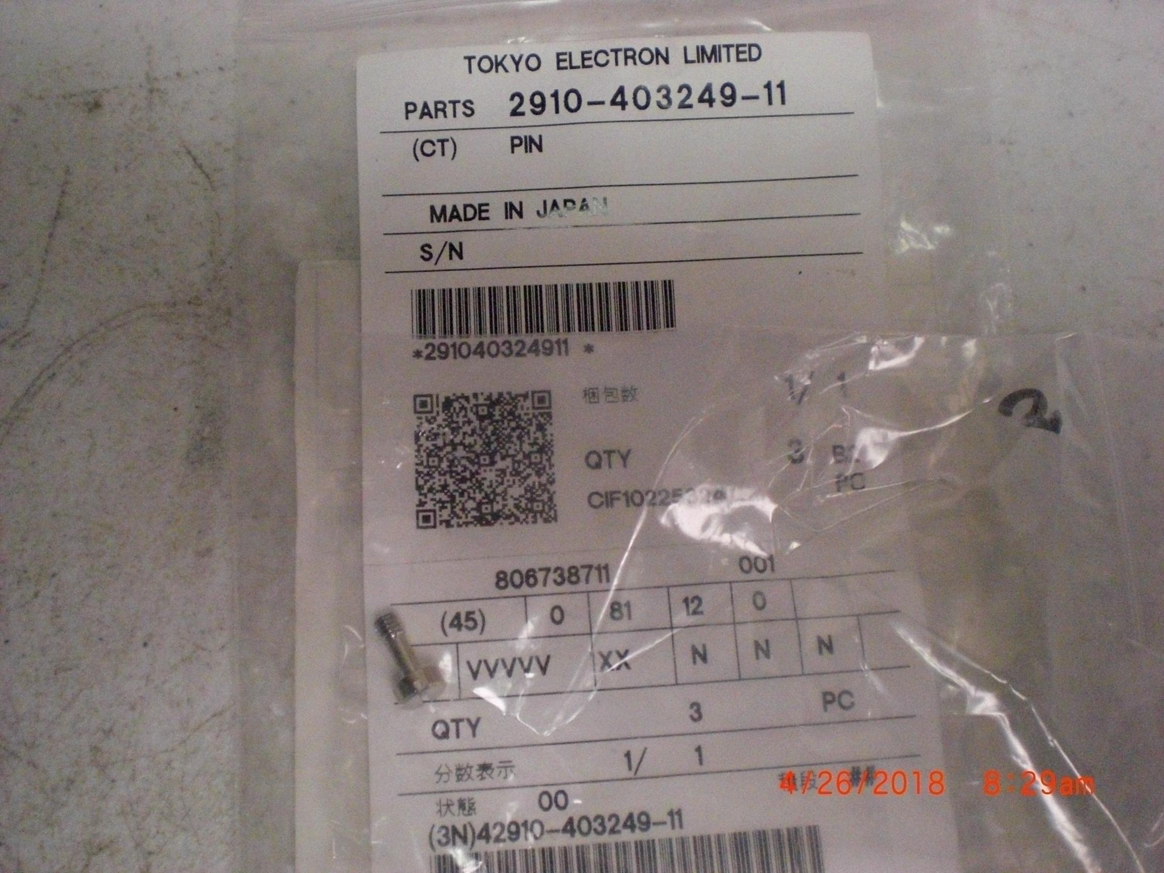Screw TOKYO ELECTRON (TEL) 2910-403249-11 shoulder SS