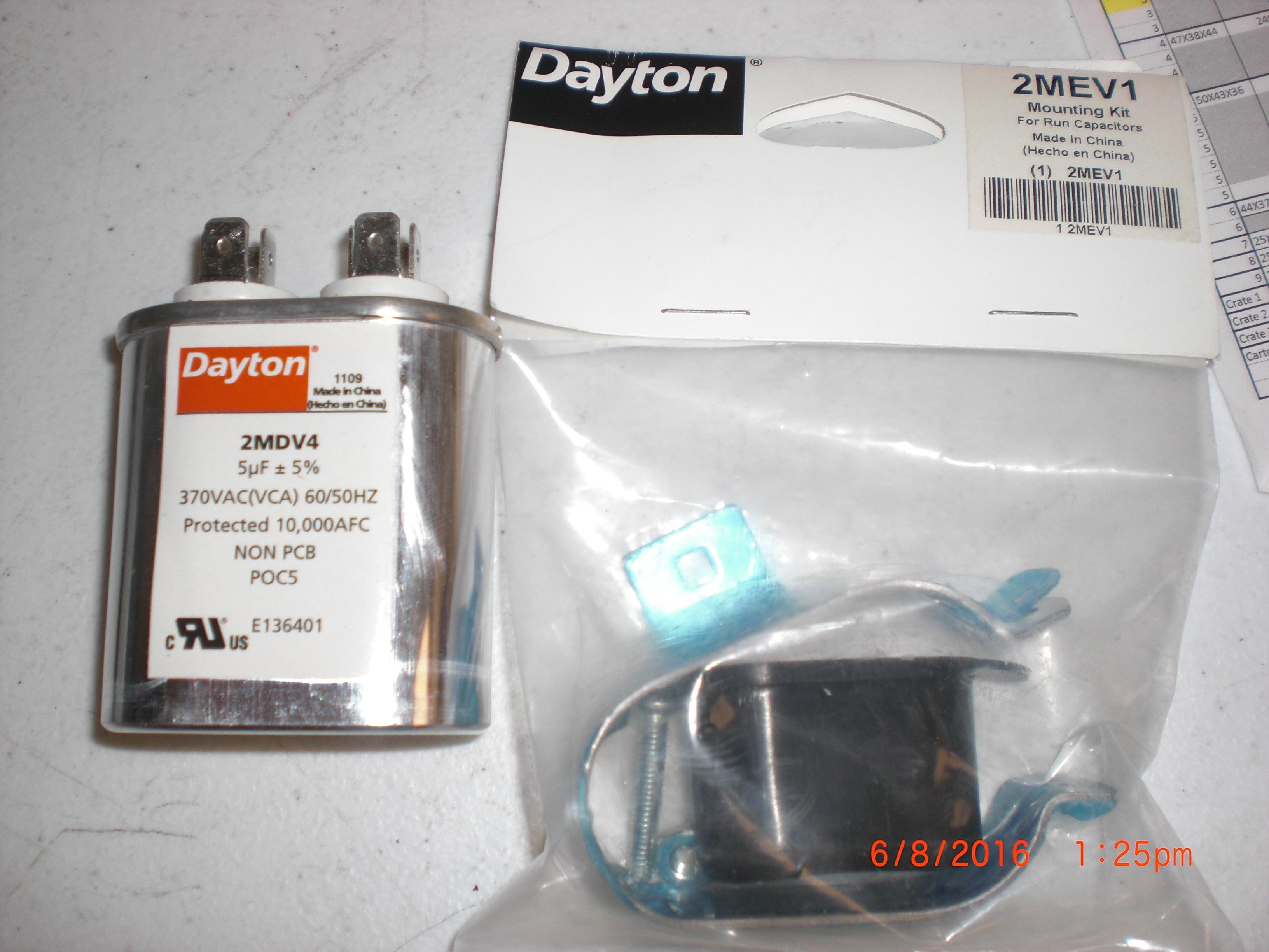 Motor dayton 2mdv4 2mev1 starter capacitor with mount 5uf for Dayton capacitor start motor