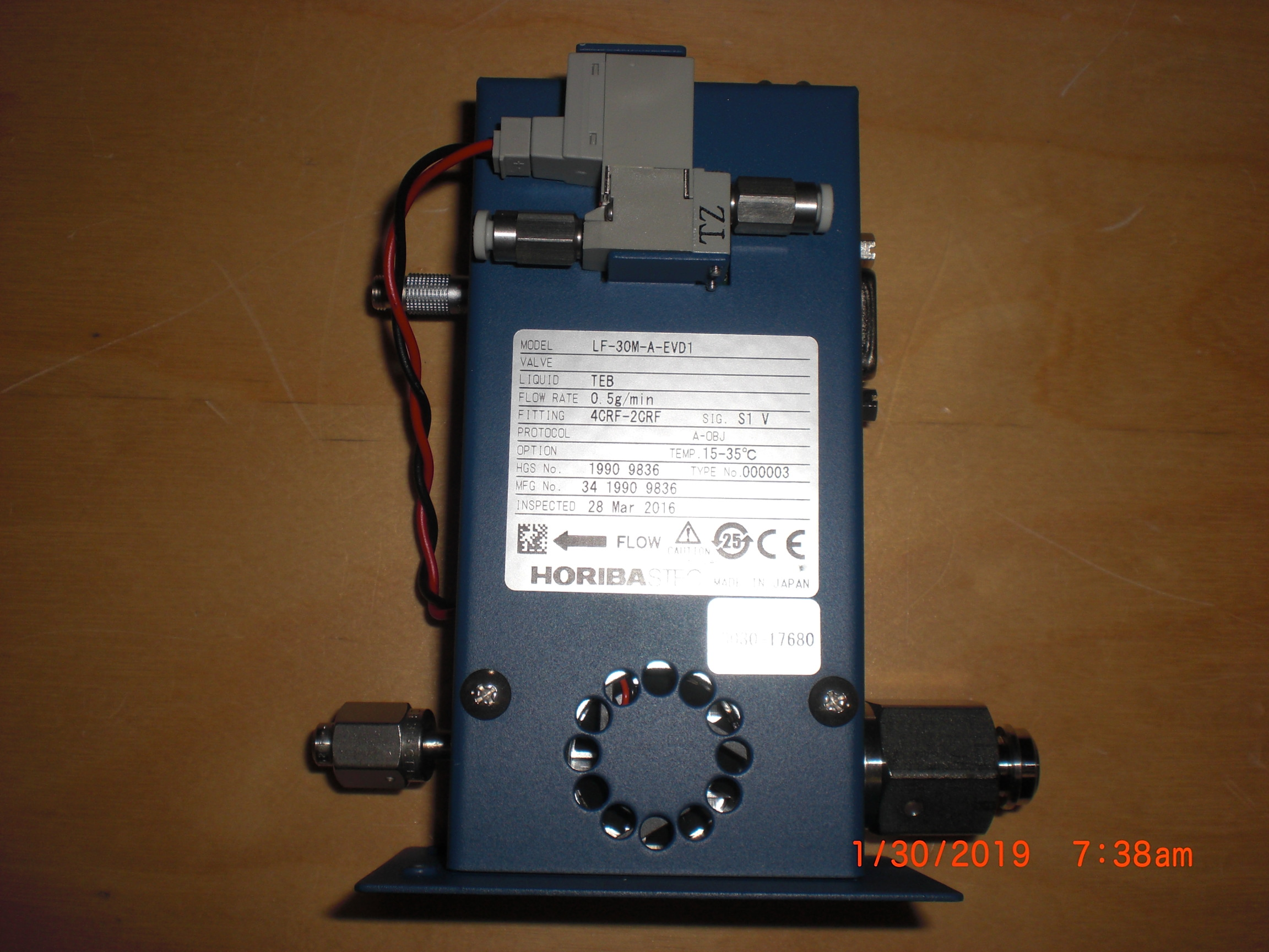 MFC HOREBIA / STEC LF-30M-A-EVD1 Applied Materails (AMAT) 3030-17680 LFC TEB 0.5g/min