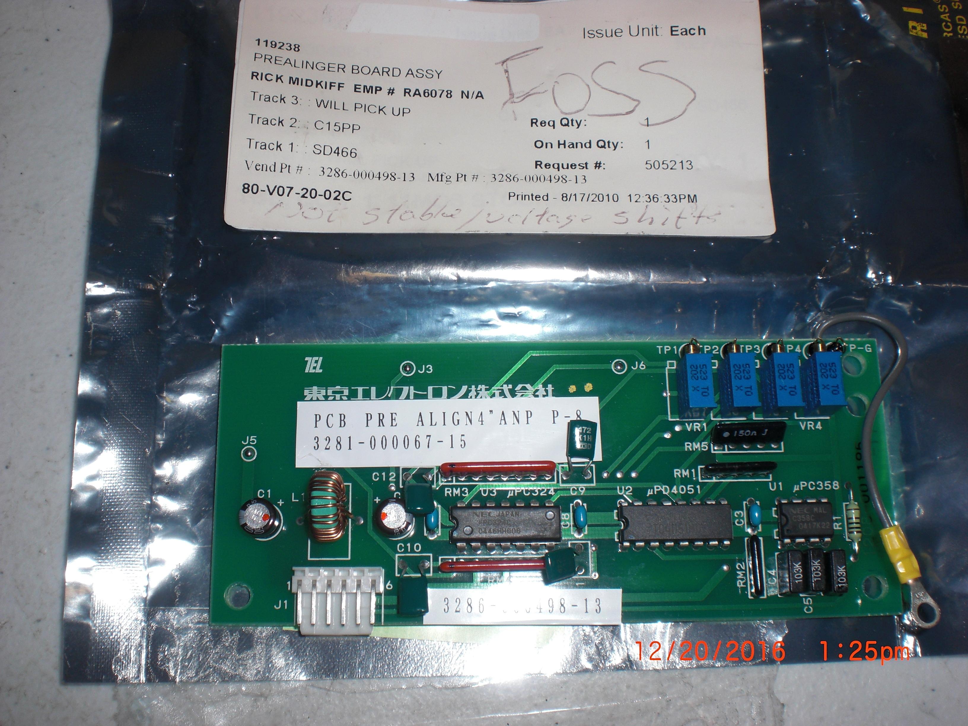 PCB Pre-aligner Board (TEL) 3281-000067-15