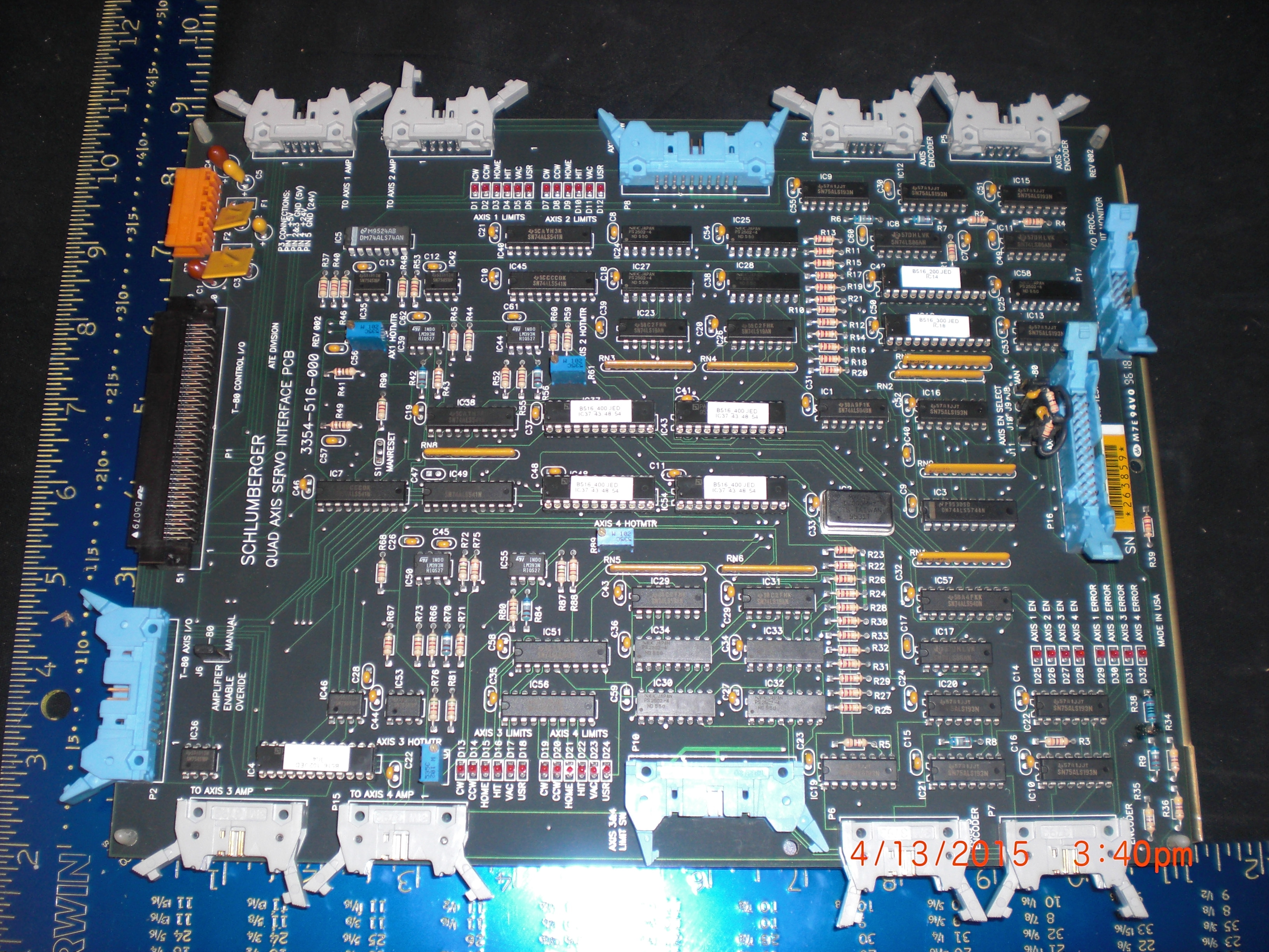 PCB Schlumberger Systems 3354-516-000 Quad AXIS SERVO INTERFACE CARD