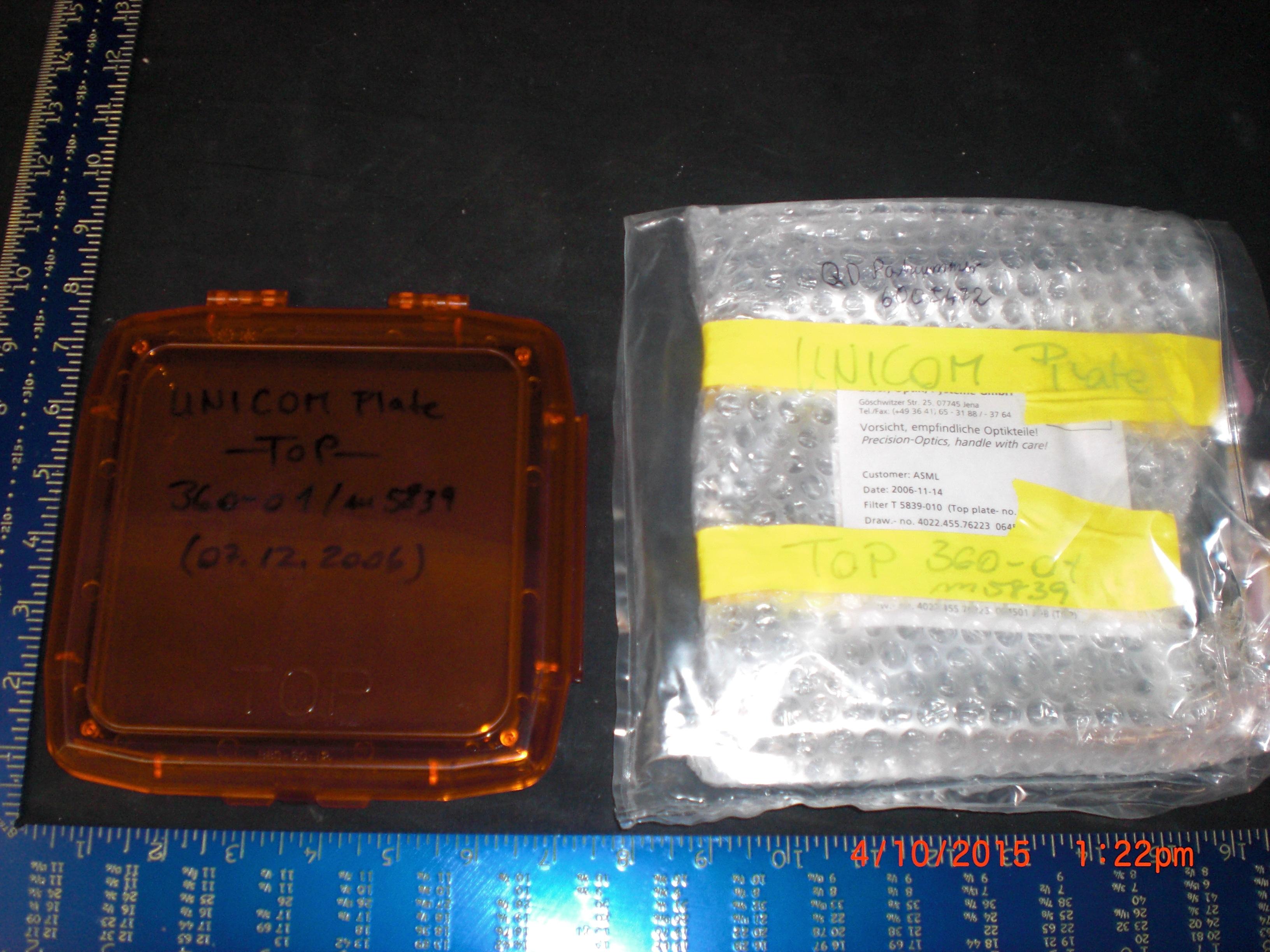 Lens ASML 4022.455.76223 Filter T 5839-010 Unicom Plate 360-01/um5839