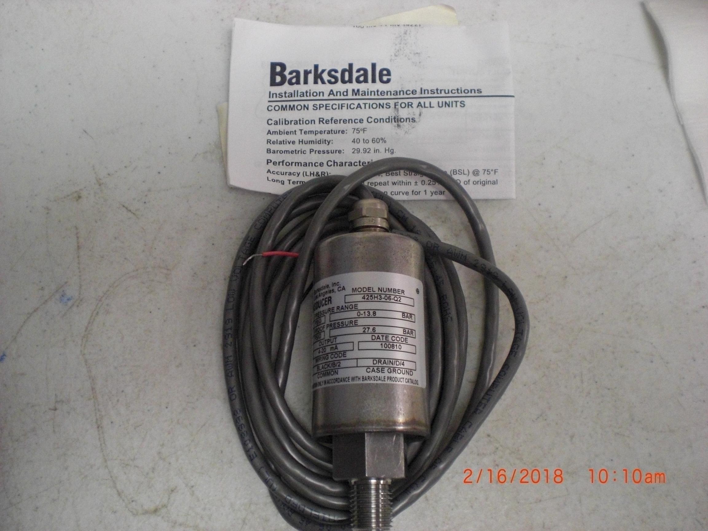 Transducer BARKSDALE 425H3-06-Q2 Pressure SS 0-200PSIG