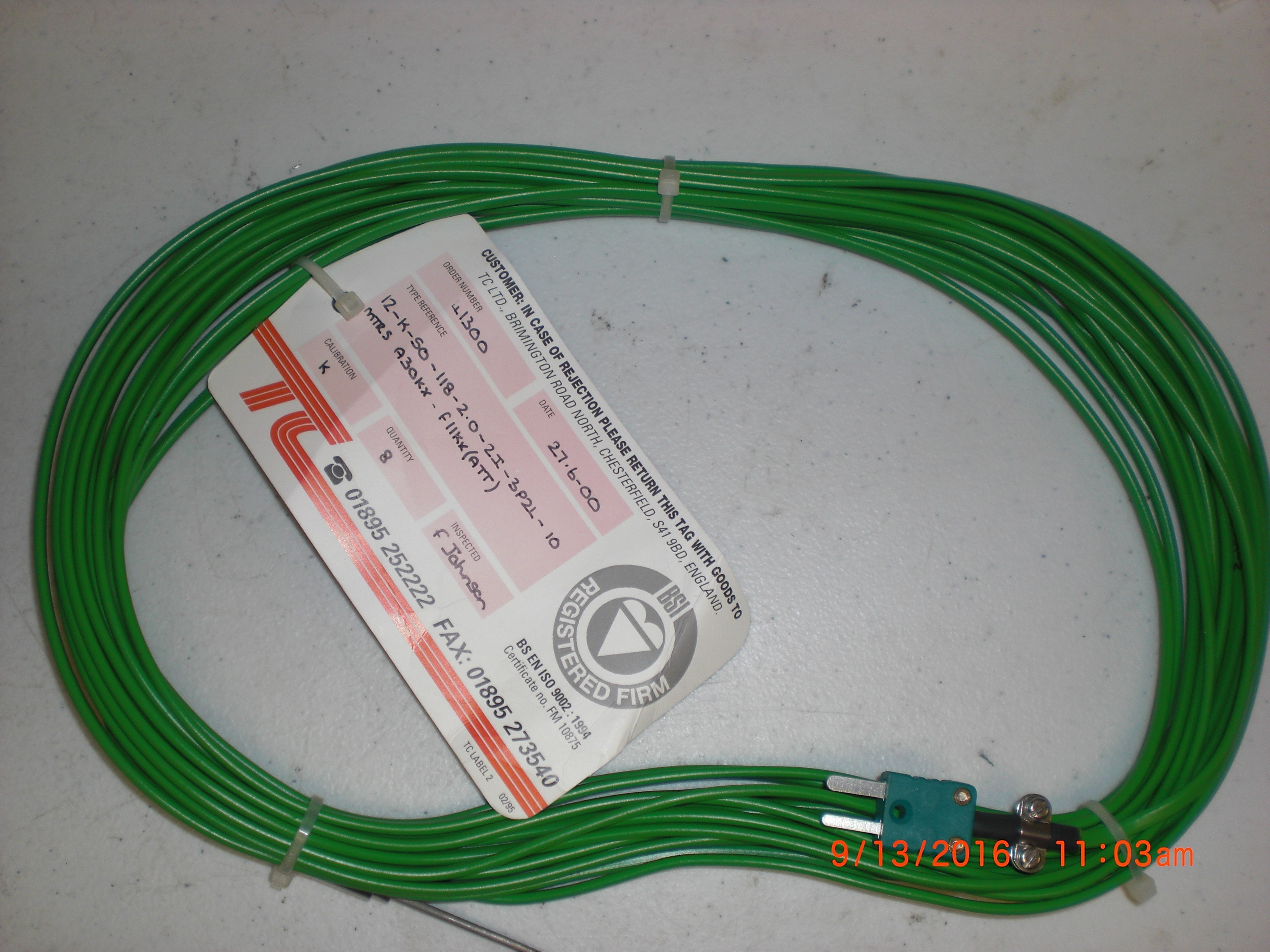 Thermo Couple (TC) Type K 12-K-SO-118-2.0-2I-3P2L-10MTRS A30KX(ATT) TC Ldt 41300 Aviza 5781885