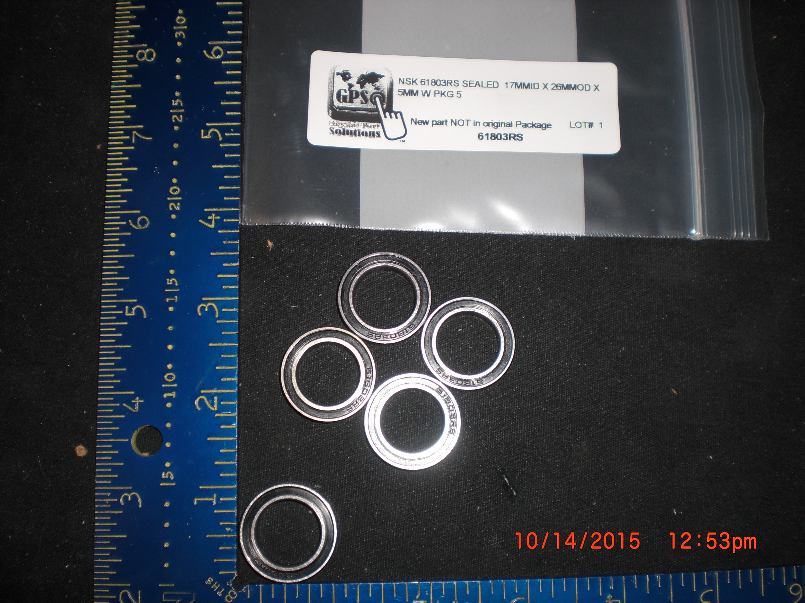 Bearing NSK 61803RS sealed  17mmID X 26mmOD X 5mm W PKG 5
