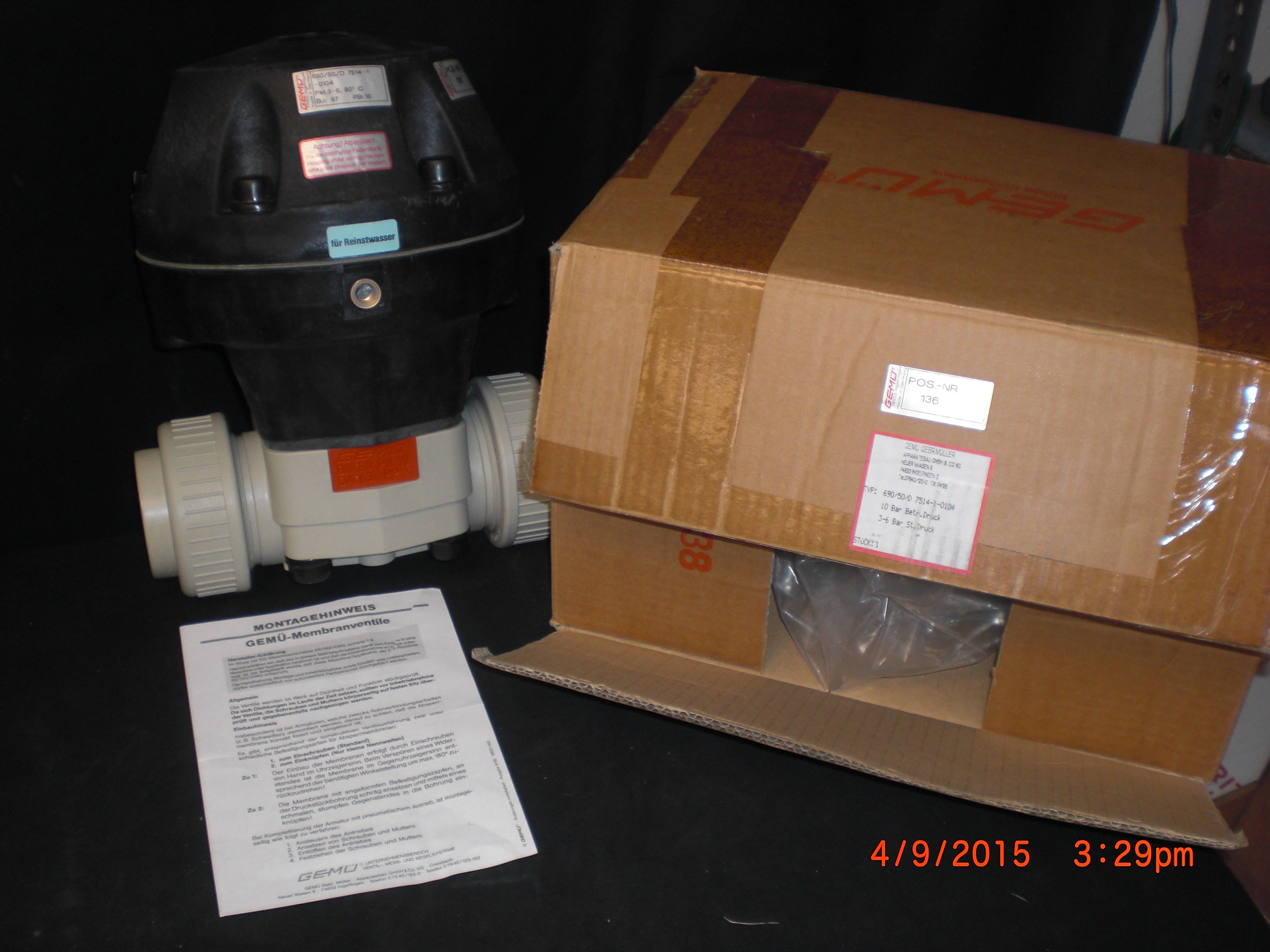 Valve Diaphragm Pneumatic PP/EPDM DN50/2in True Union GEMU 690/50/d