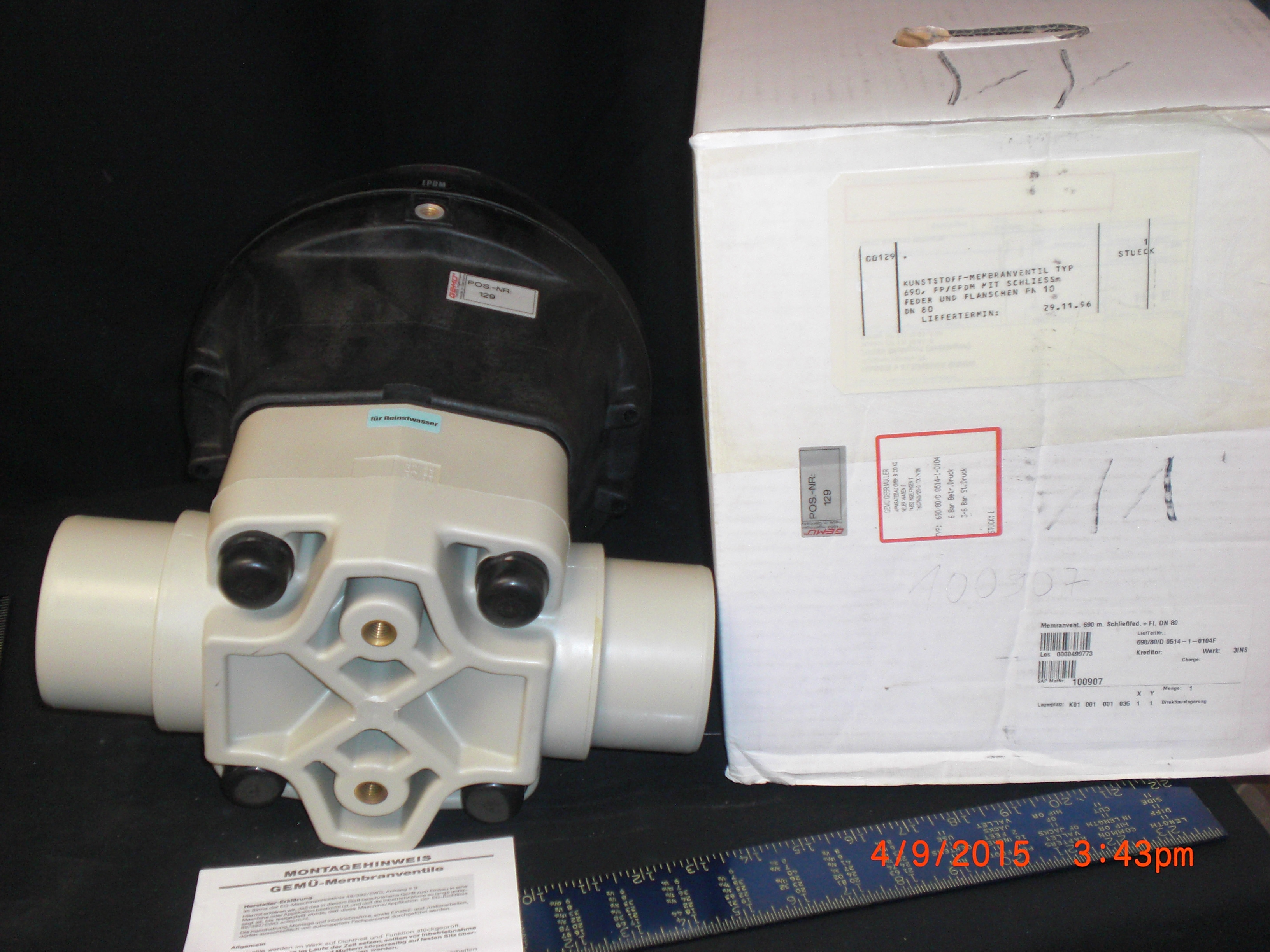 Valve Diaphragm Pneumatic PP/EPDM  DN80/3in GEMU 690-80-d