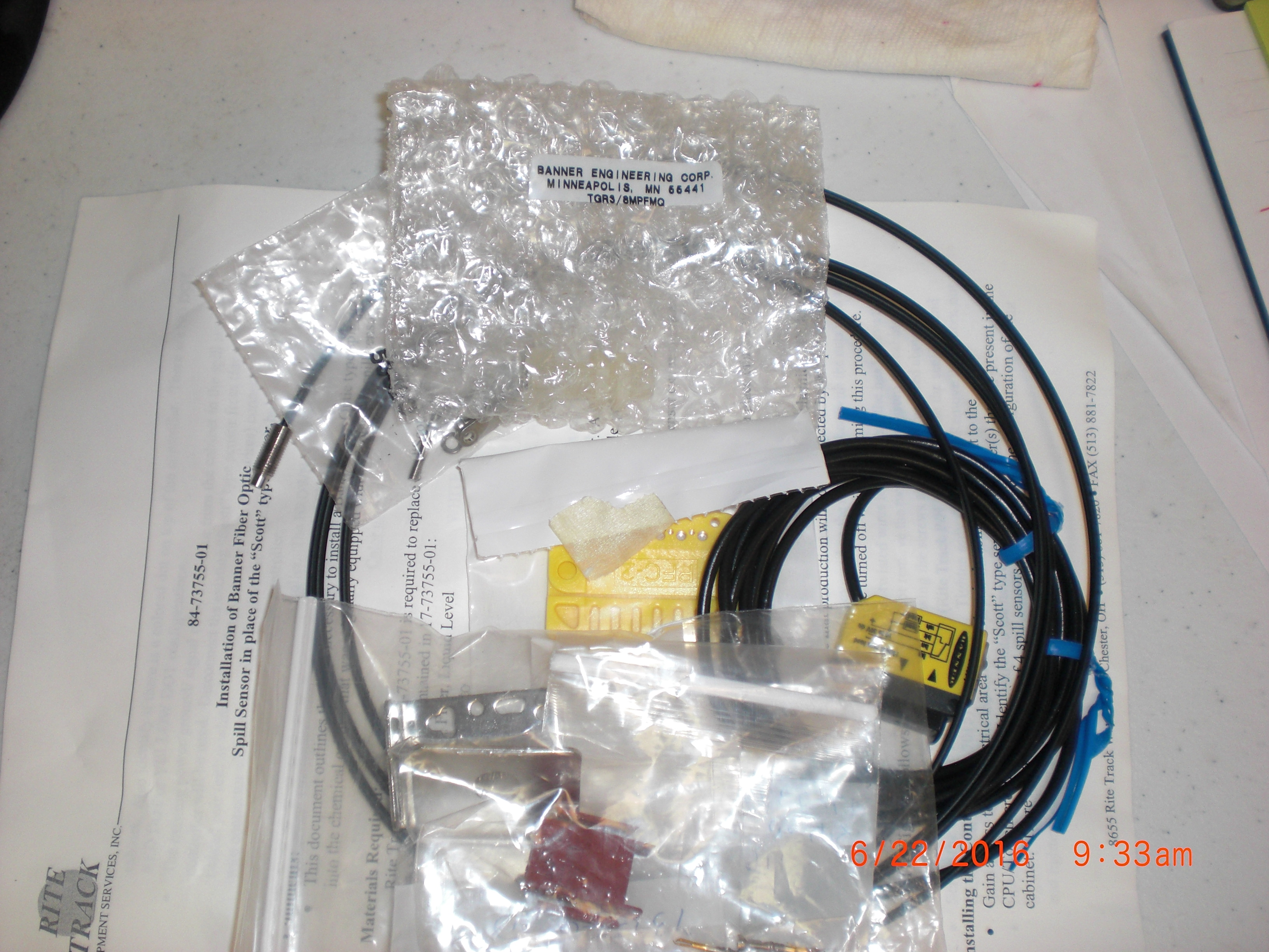 Fiber Optics RITE-TRACK 71-73755-01 Leak Sensor up grade Banner Fiber Optic