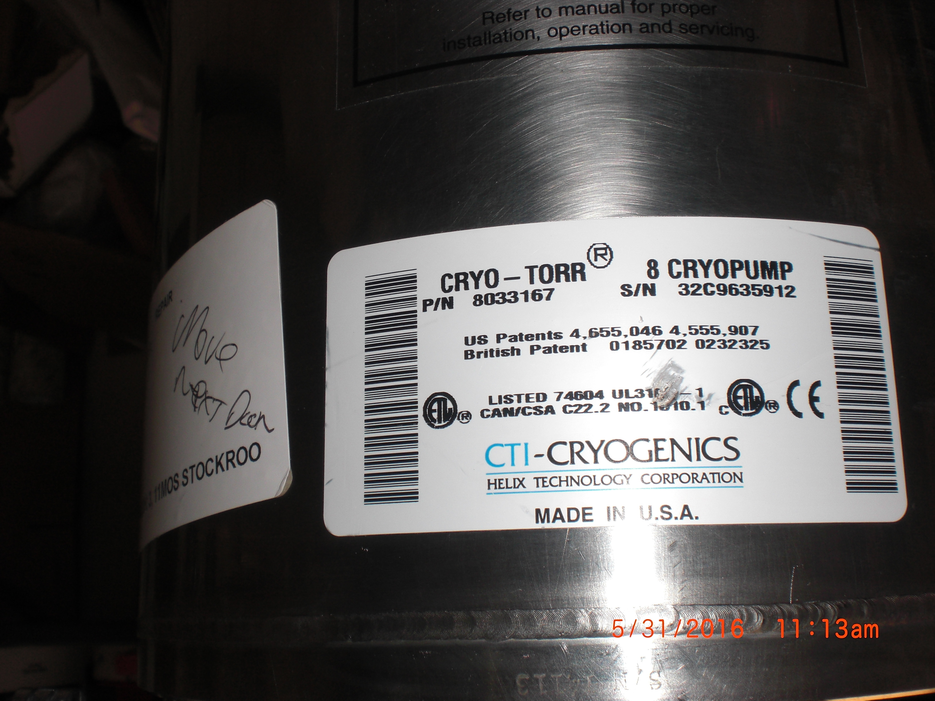 Pump CTI-CRYOGENICS 8033167 Cryo-Torr 8 Cryogenics Manufacturer Refurbished