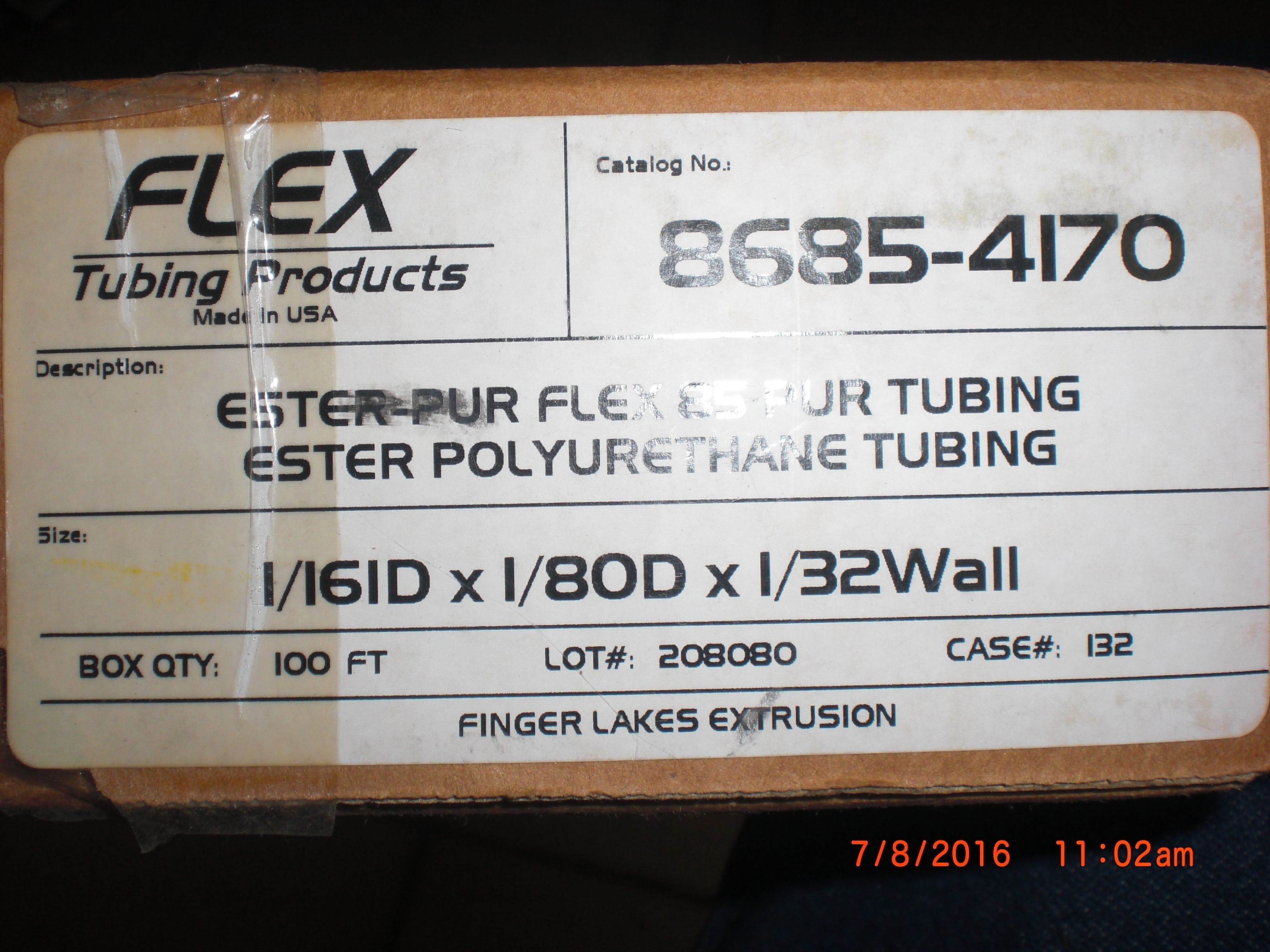 Tubing  Polyurethane 1/8 X 1/16 100ft Flex Tubing Products 8685-4170 Ester-Pur