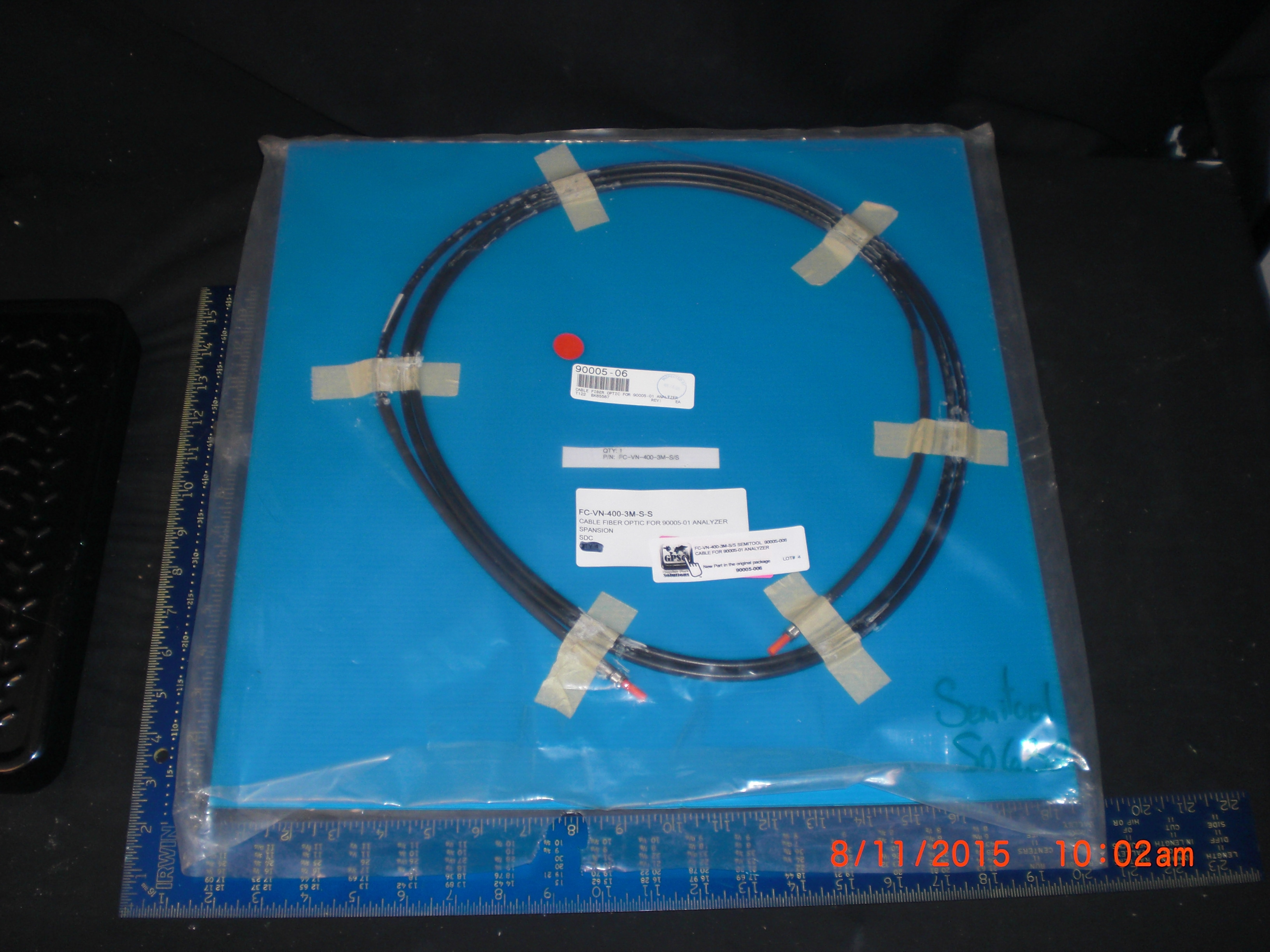 Fiber Optics Amphenol FC-VN-400-3M-S/S SEMITOOL  90005-006 Cable for 90005-01 Analyzer
