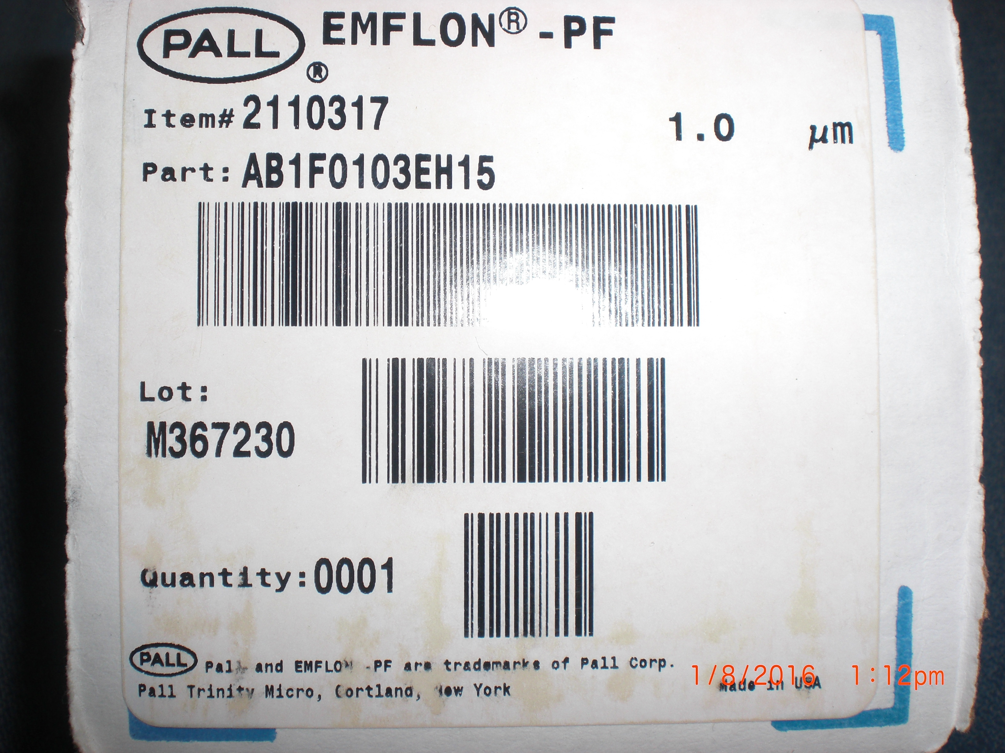 Filter  Emflon PF 1.0um  10in  PALL AB1F0103EH15