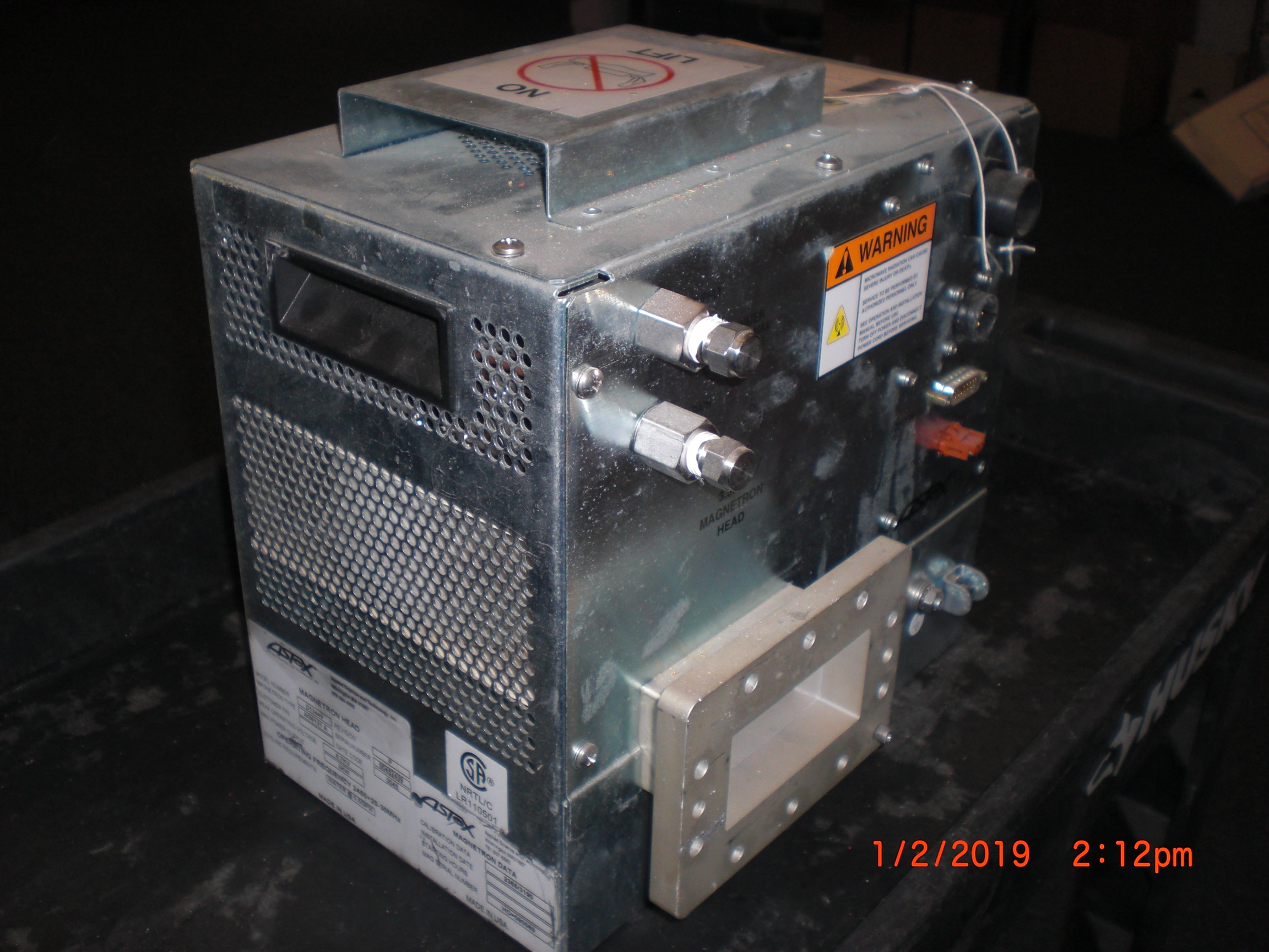 RF Systems ASTEX AG9131 A Model D13449 Magnetron Head 6.7KV VOLTAGE 3.5KW OUTPUT