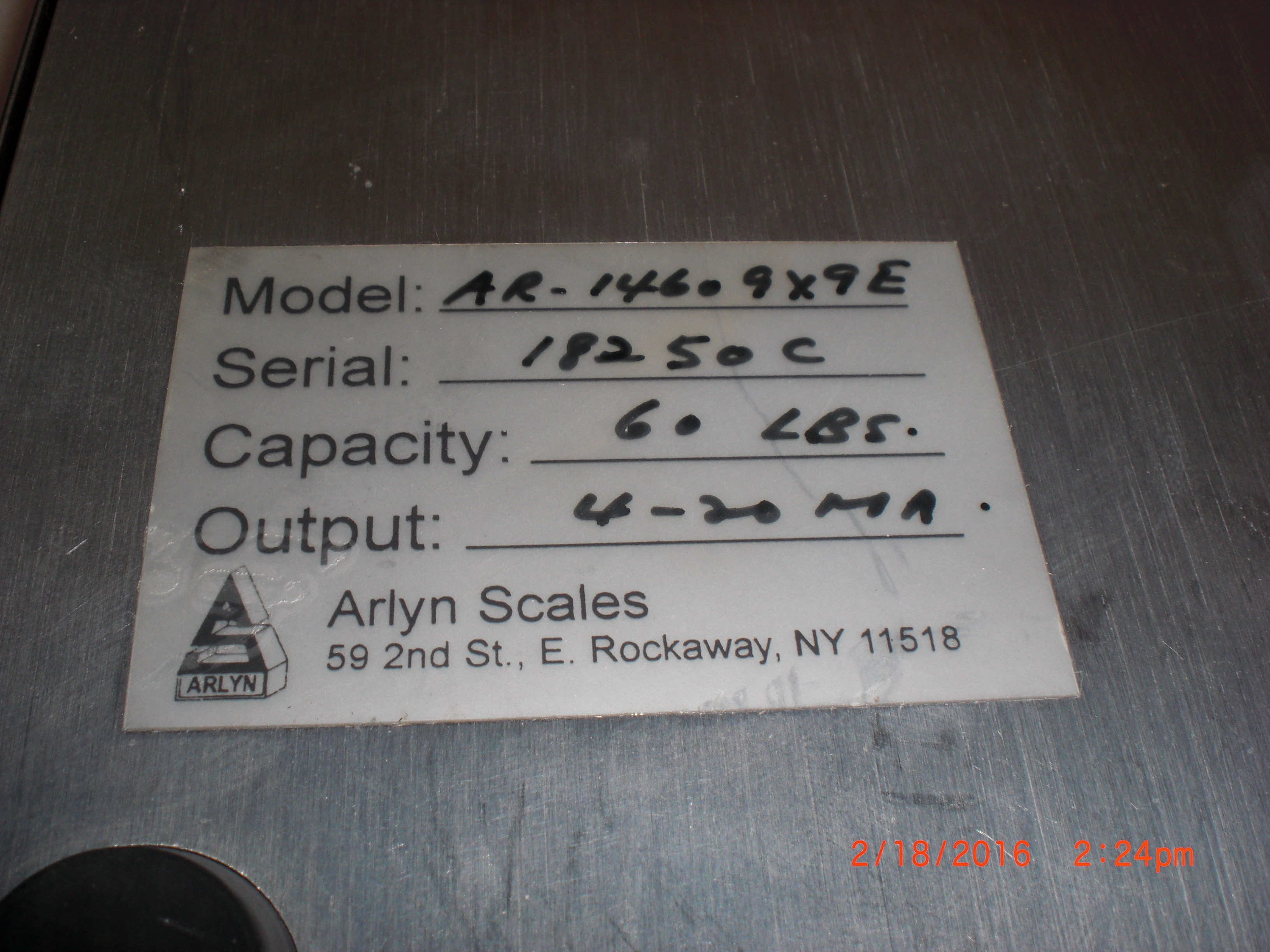 Scale ARLYN SCALES AR-14609X9E  60lb 9x9in SS 4-20Ma low profile